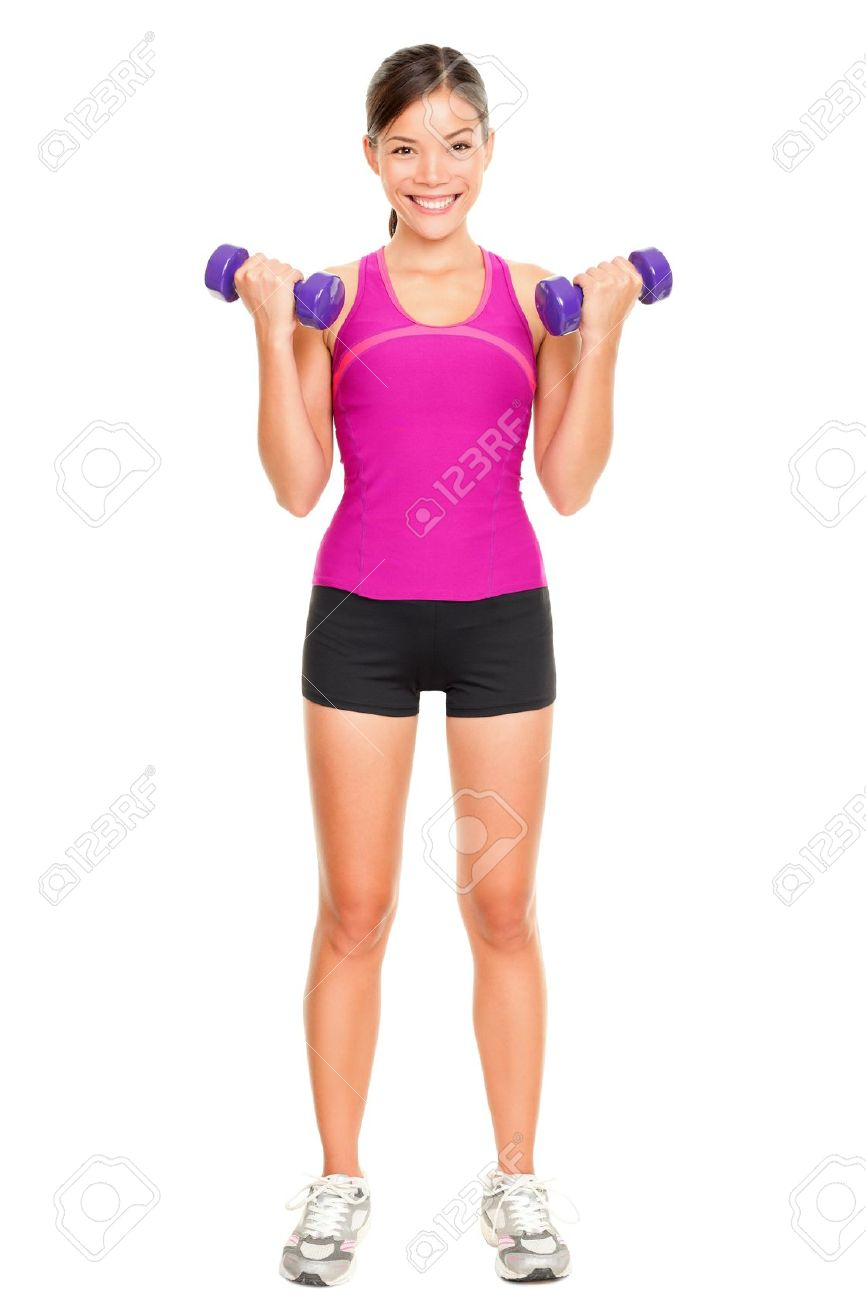 Sport fitness woman standing in full body  Fitness instructor standing holding dumbbell hand weights isolated in full body on white background in studio  Beautiful young mixed race Asian Caucasian female fitness model Standard-Bild - 16637283