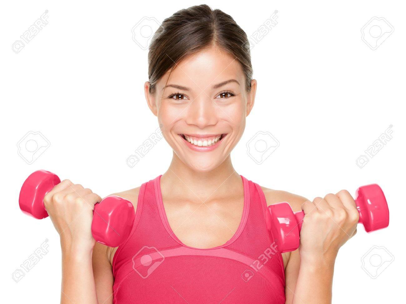 Fitness Frau glücklich halten Hantelscheiben lächelnd auf weißem Hintergrund Schöne multikulturellen Mischlinge asiatischen kaukasischen weiblichen Sport Fitness-Modell isoliert Standard-Bild - 16637276
