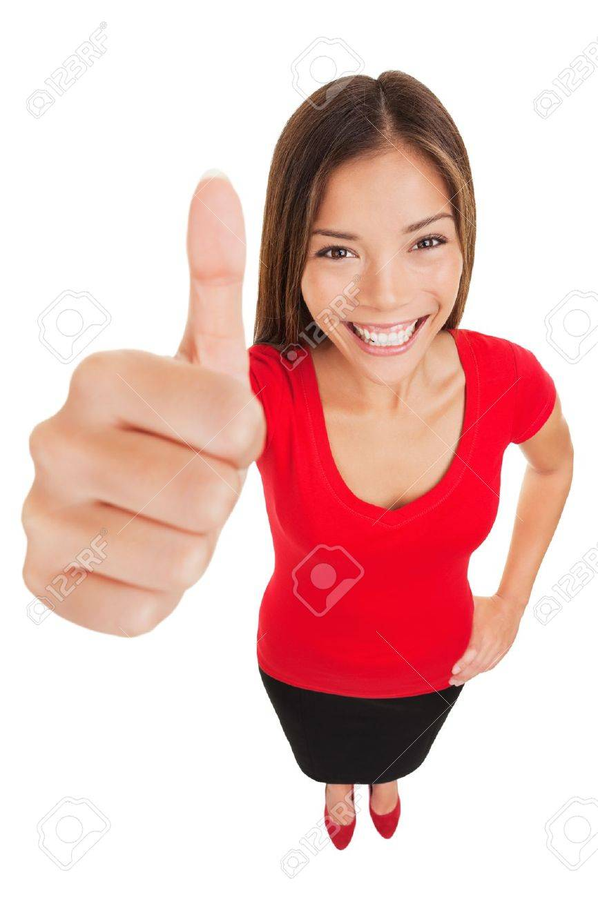 Thumbs up woman  Fun high angle full body portrait of a vivacious laughing woman giving a thumbs up gesture of approval as she looks at camera, isolated on white background  Mixed race businesswoman Standard-Bild - 18871932