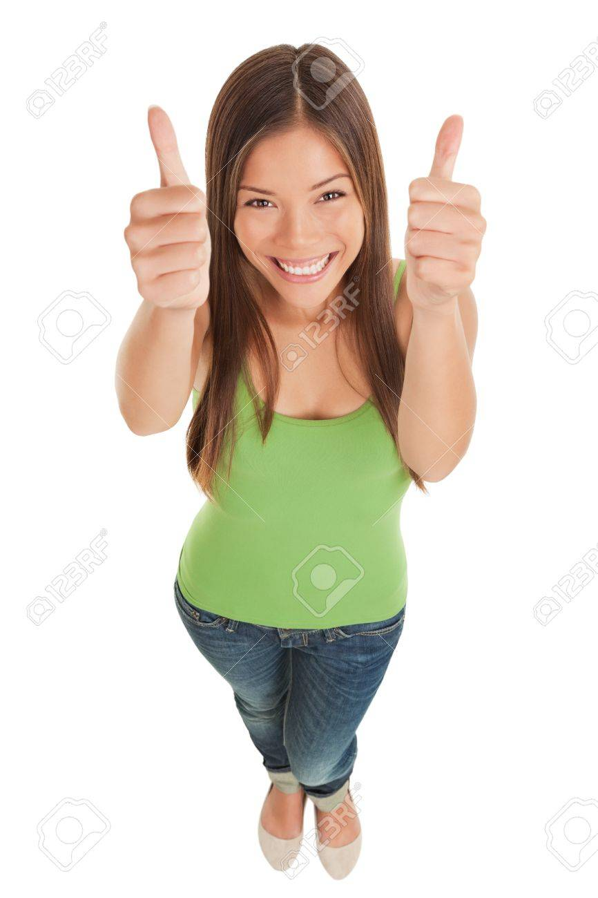 High angle perspective of a happy smiling young woman in jeans looking up Standard-Bild - 20047480