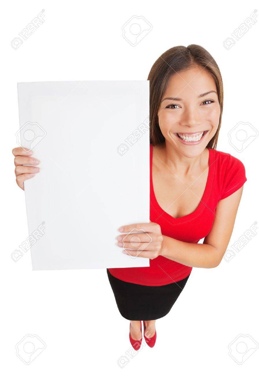 Young woman holding white blank sign placard billboard Standard-Bild - 20047462