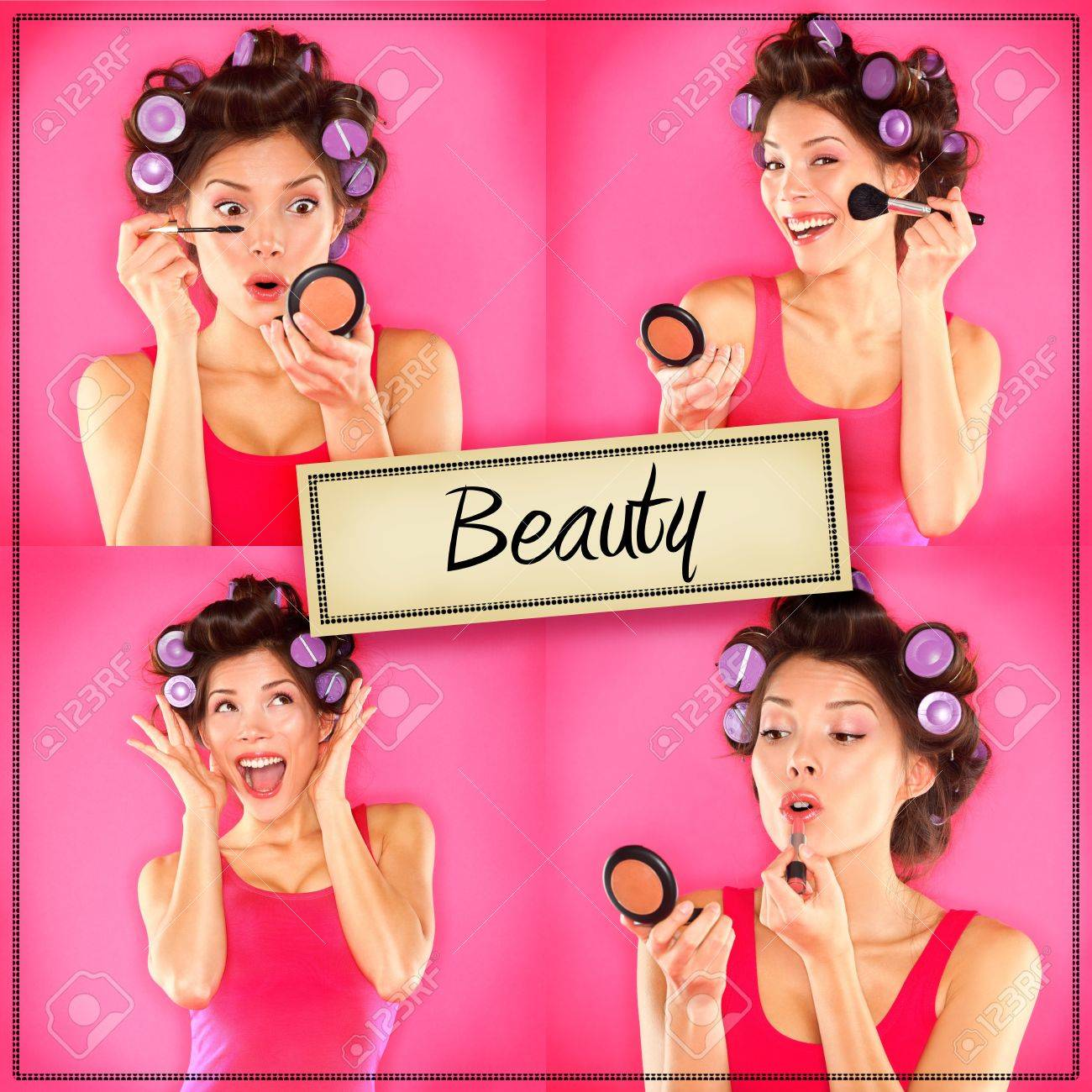 Beauty woman makeup concept collage series Standard-Bild - 21462898