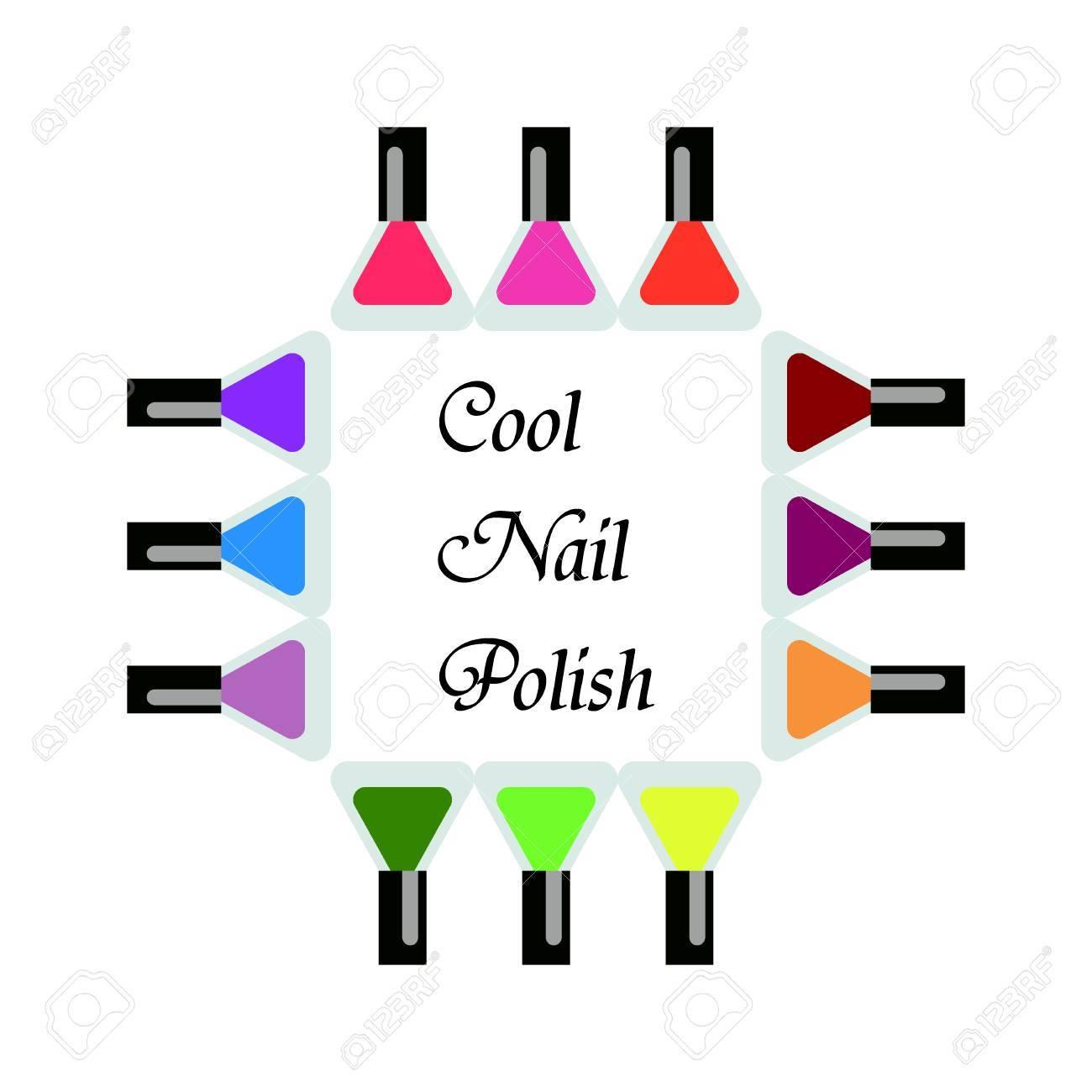 Set Flaschen Nagellack In Verschiedenen Farben Manikure Und