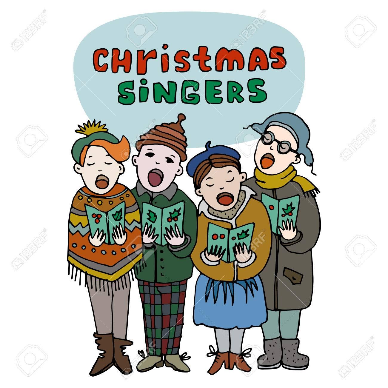 Vier Kinder Singen Weihnachtslieder. Weihnachten Sänger Titel. Frohe ...