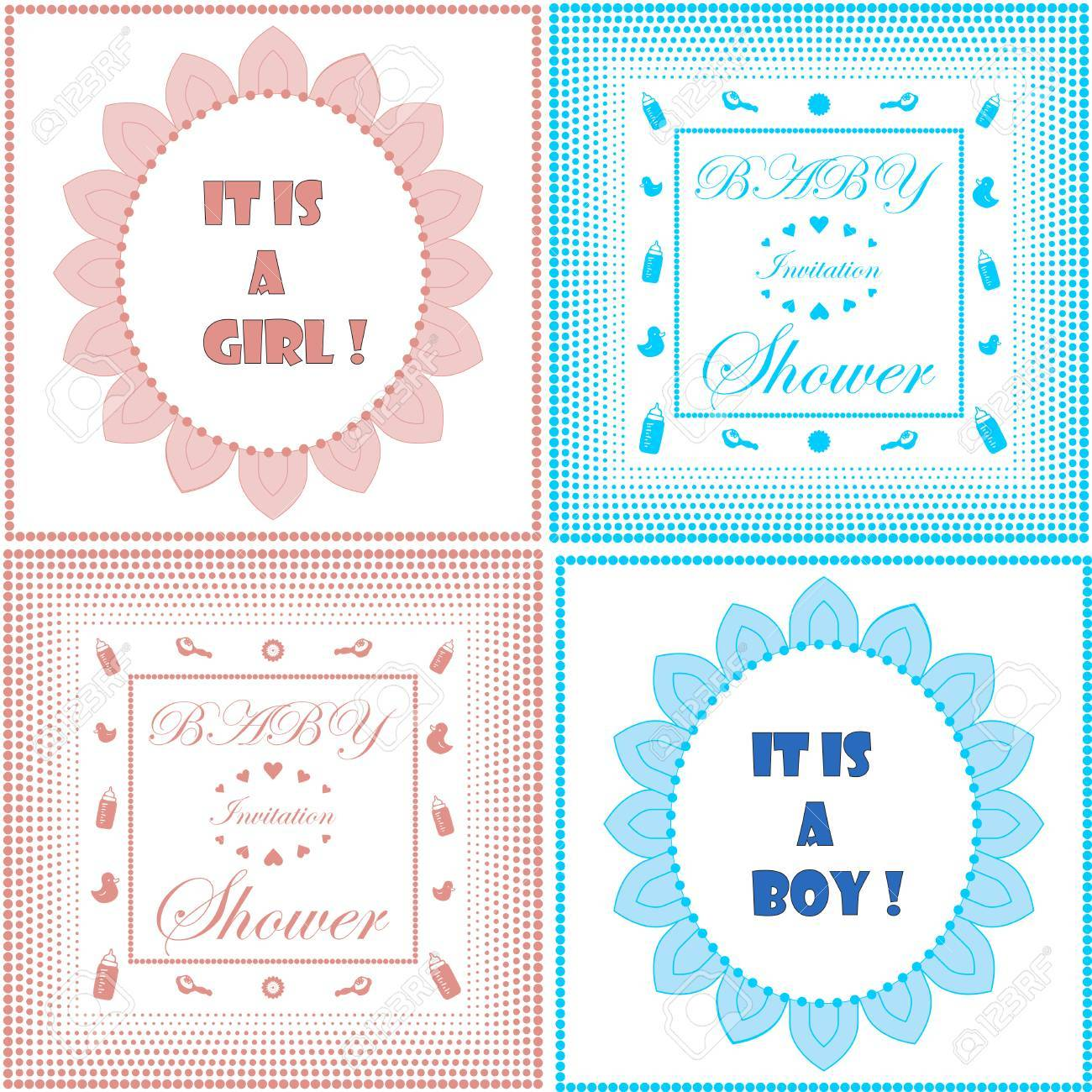 Baby Shower Invitation Card Template Set. Boy And Girl Design ...