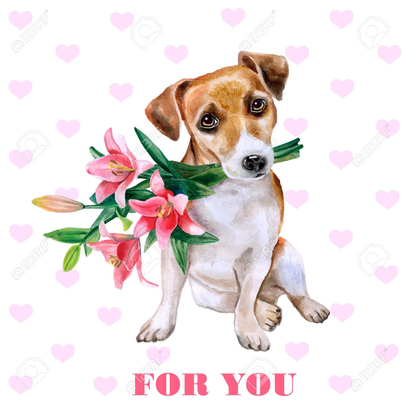 Dog With Flowers. Cute Puppy With Romantic Bouquet. Flower Backdrop ...