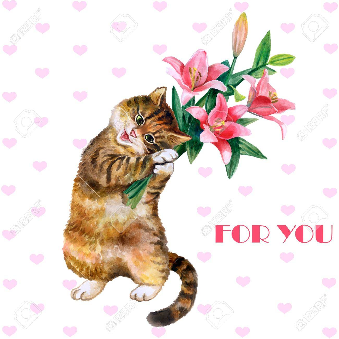 Cute Watercolor Greeting Card With Cat And Flowers Isolated On White