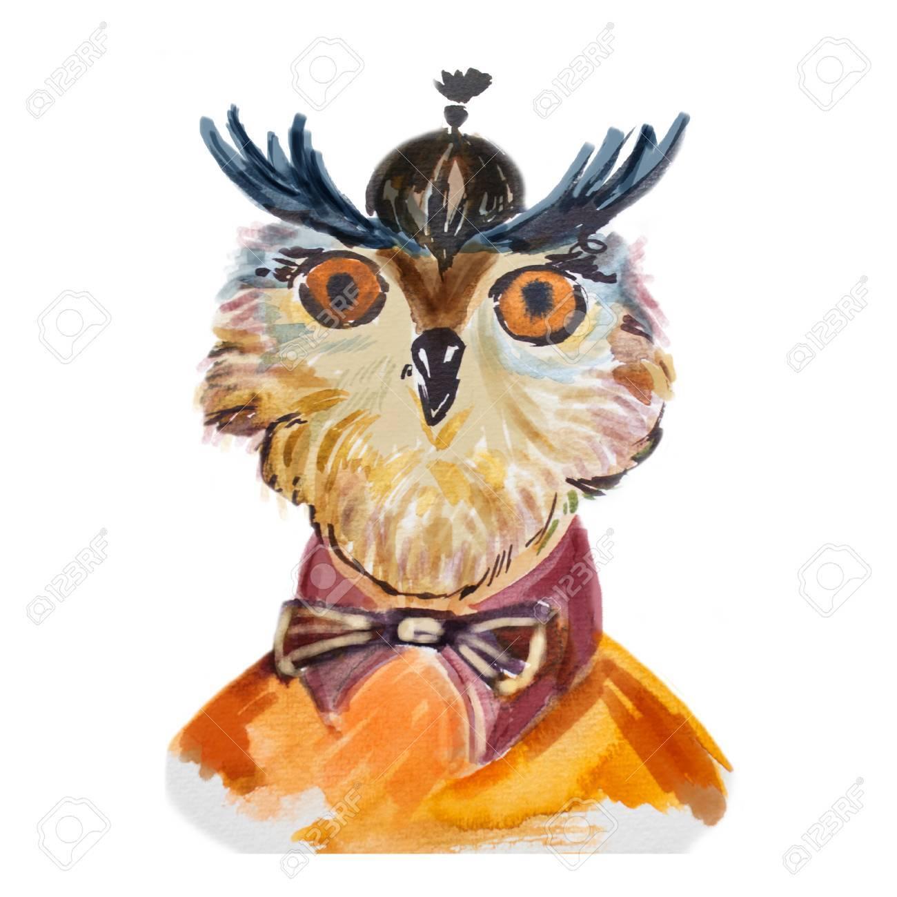 かわいいフクロウの弓で流行に敏感。面白い鳥です。賢明なフクロウは