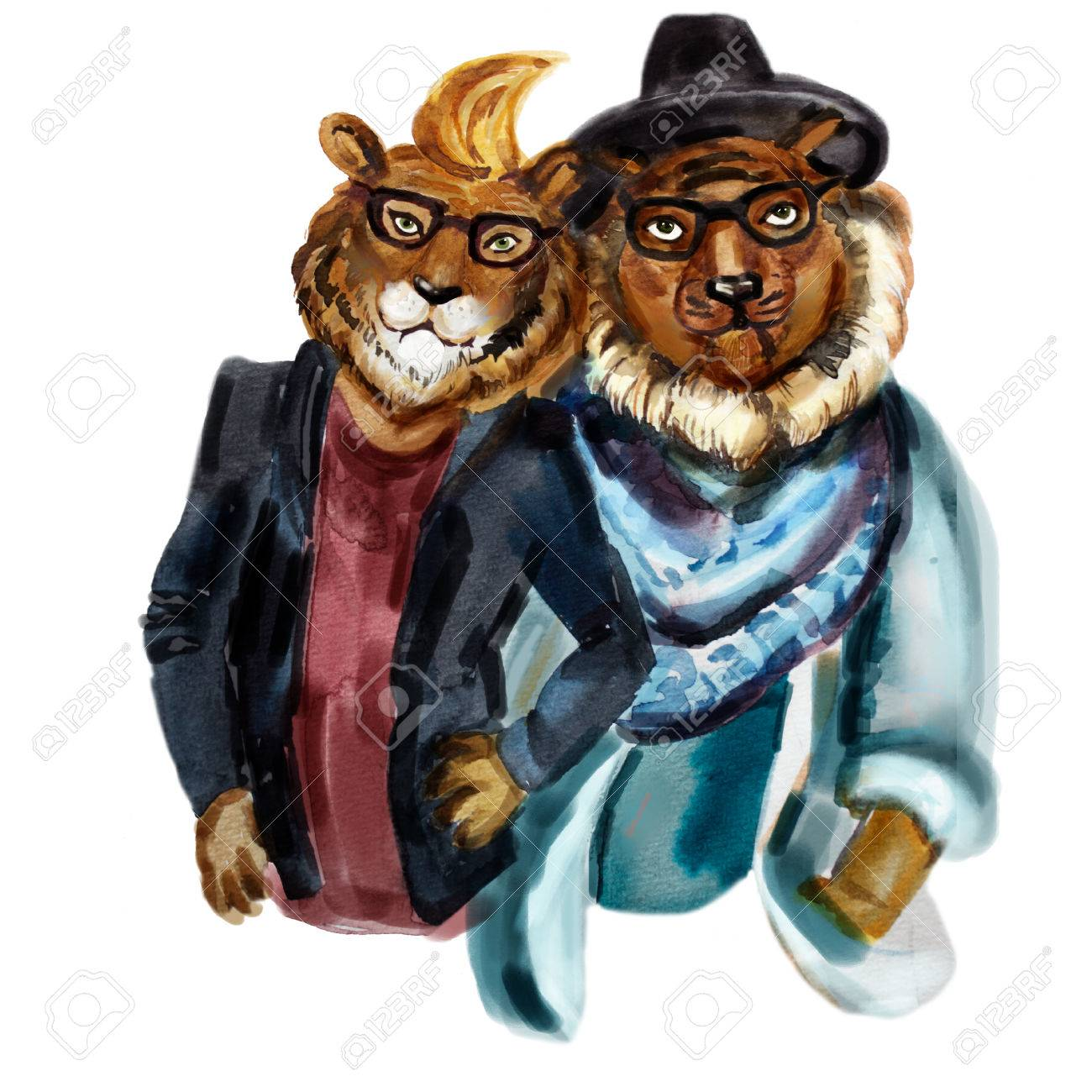 cute modern hipsters lions. stylish anthropomorphic lion couple
