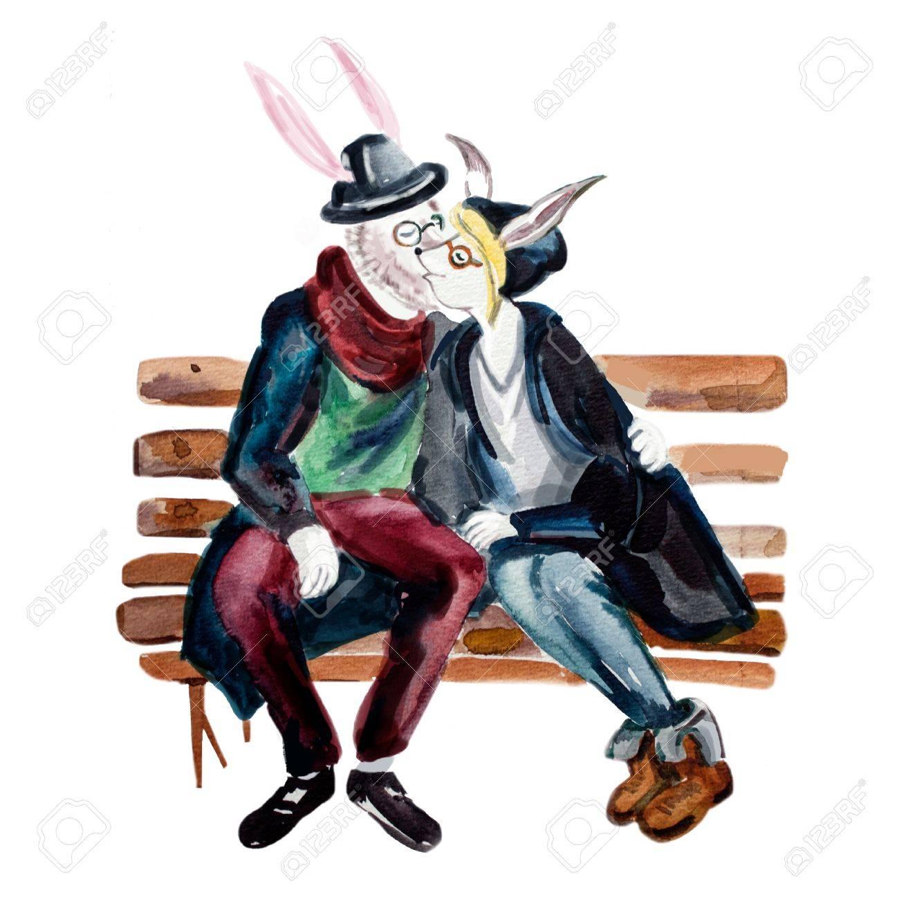 流行に敏感なスタイル擬人化ヤギ カップルがベンチでキスします