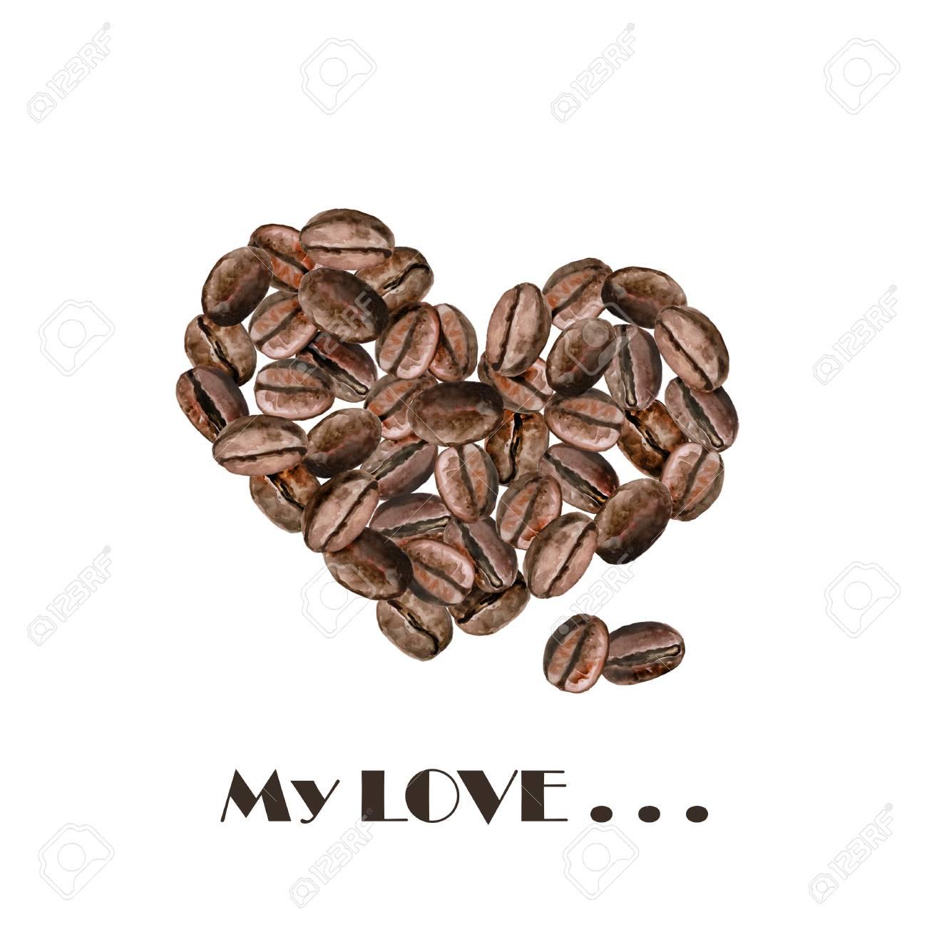 Aquarell Herz Gerösteten Kaffeebohnen Geformt. Hand Gezeichnet ...
