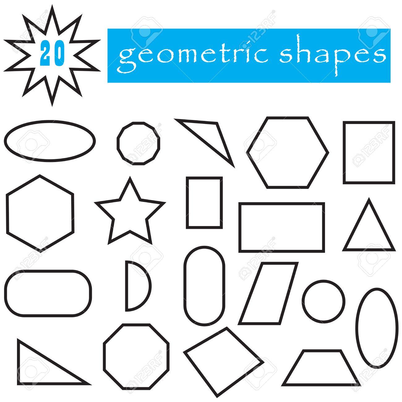 Las Formas Geométricas Conjunto De 20 Iconos Colección De Figuras