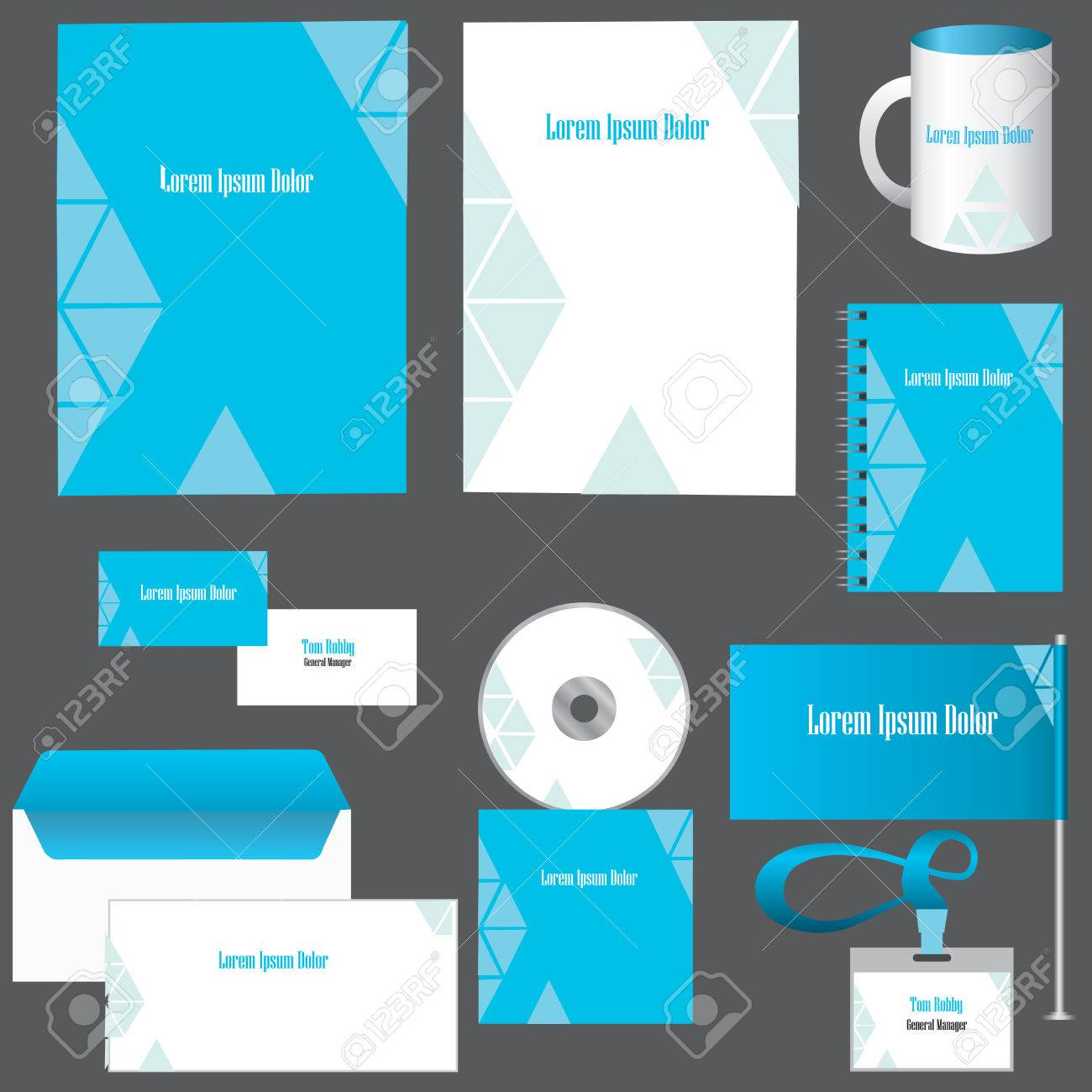 Vector Corporate Identity Design. Blue And White Abstract ...