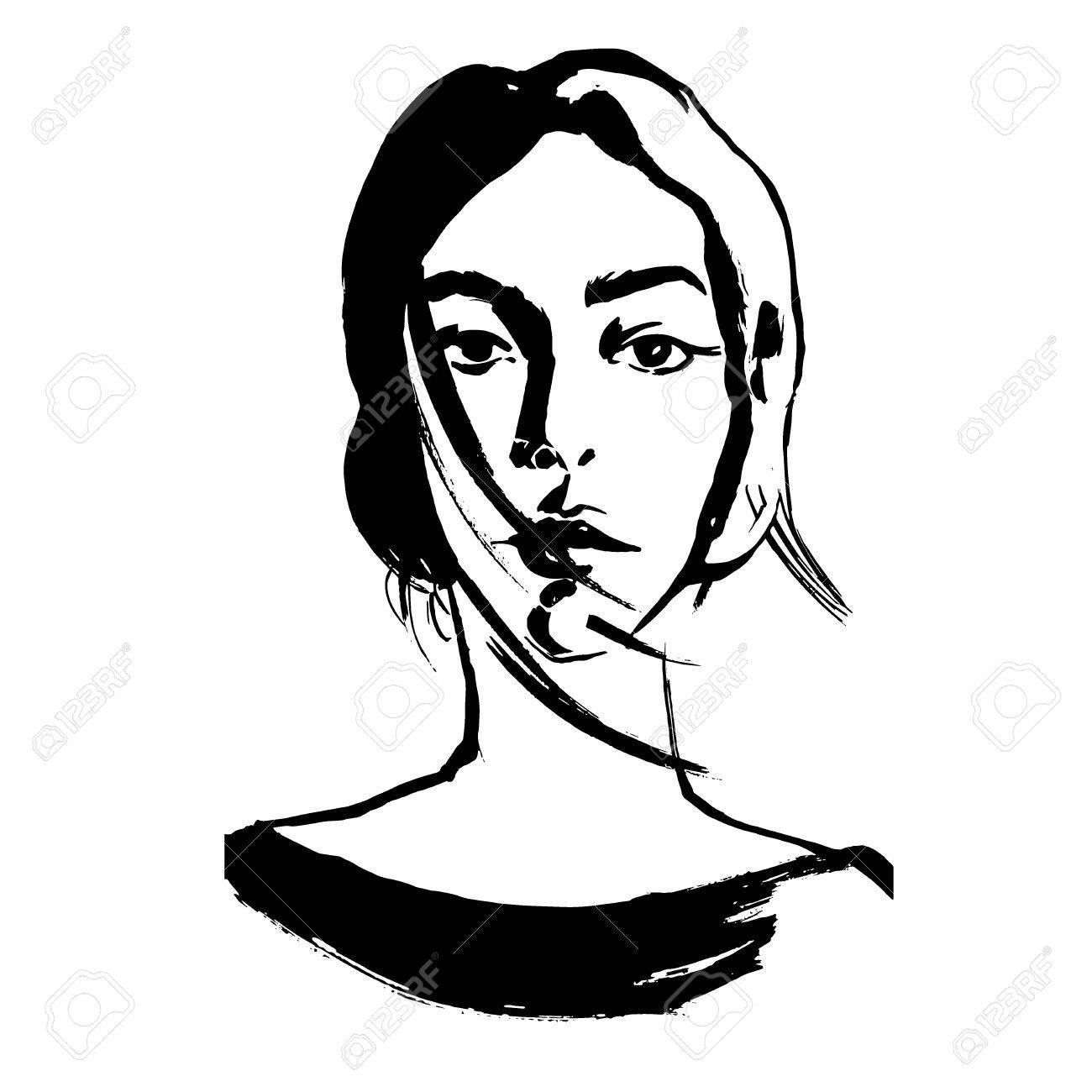 Retrato Ascendente Proximo De Tiragem Da Jovem Mulher Rosto