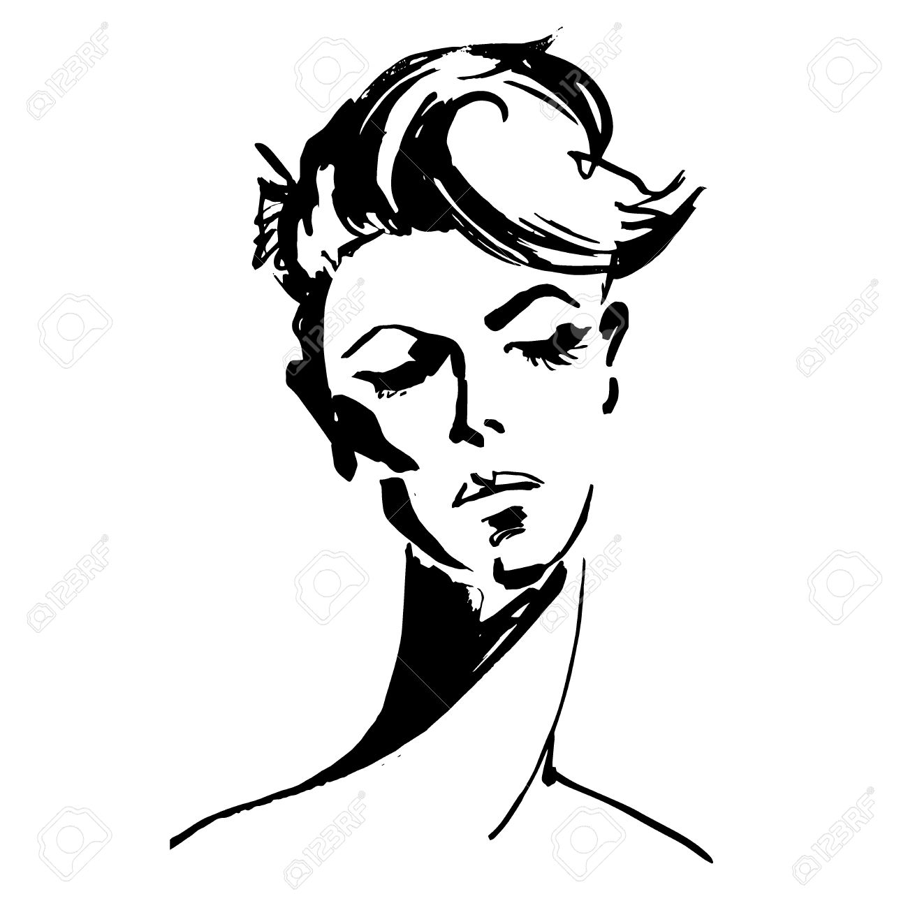 Close Up Portrait Of Young Woman Female Face With Short Hair