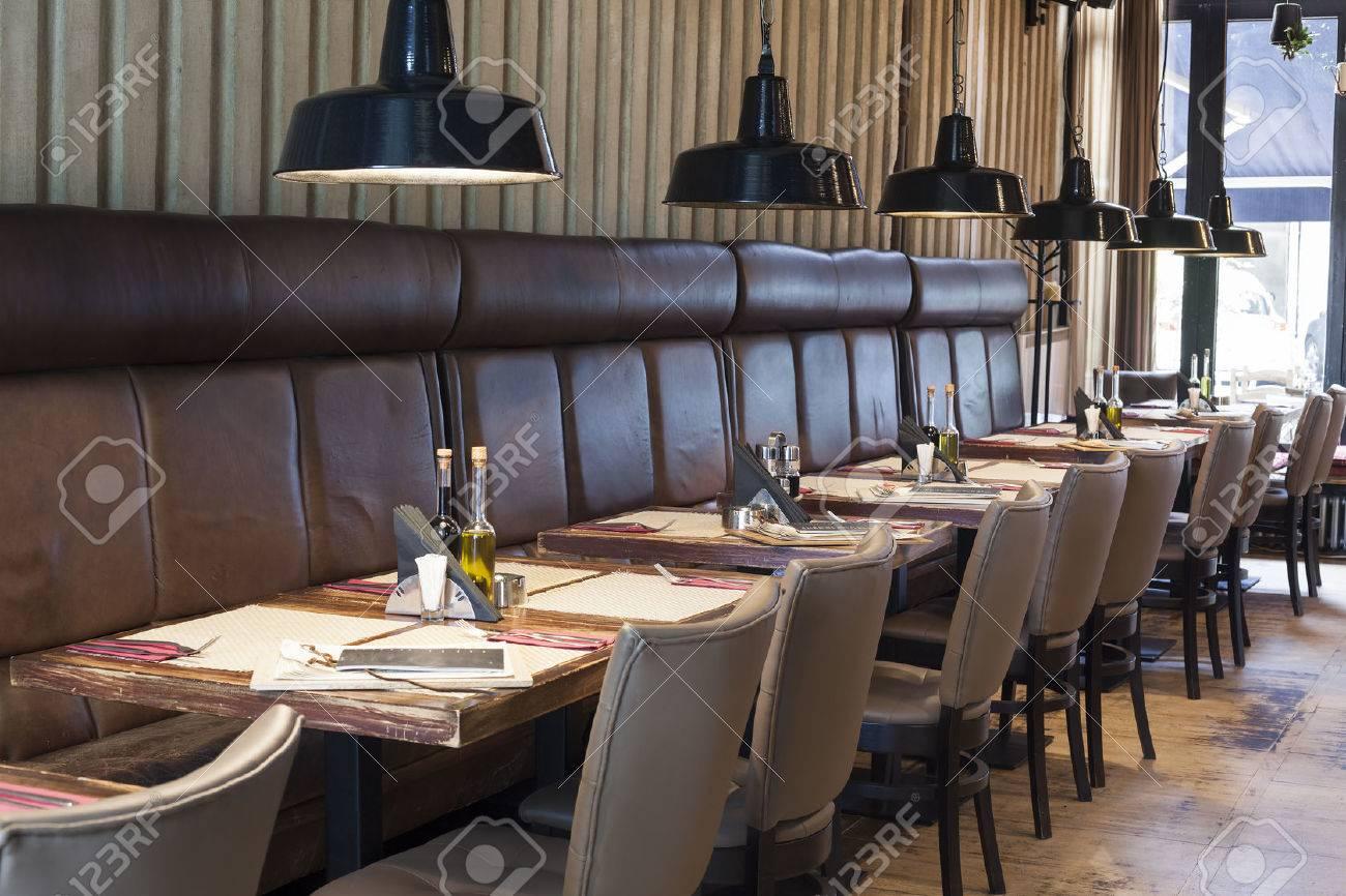 Modern restaurant table setting - Restaurant Table Table Set Up In Restaurant Interior Shalow Deepth Of Field Stock Photo