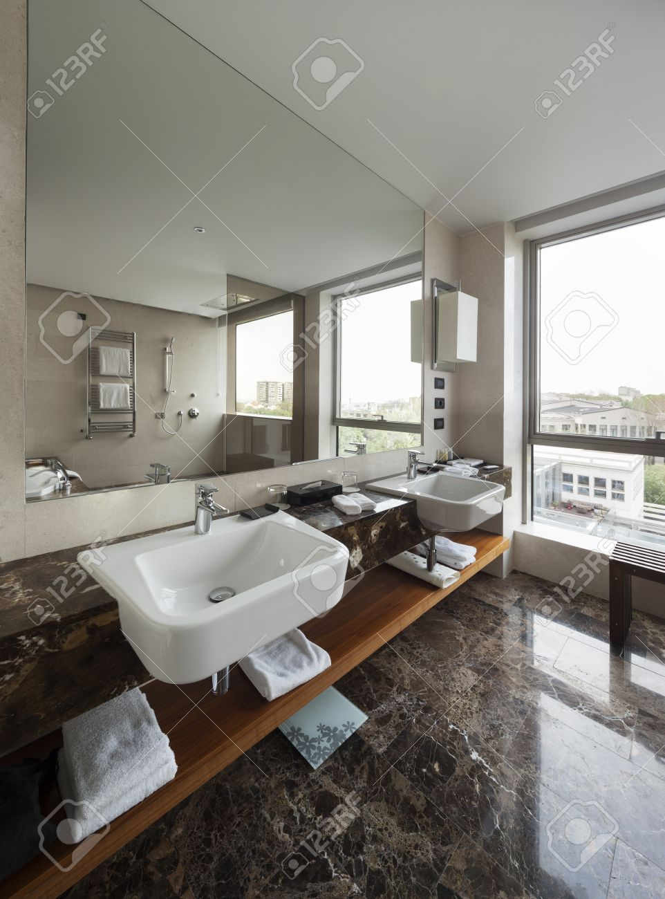 large mirrors for bathroom. Modern Bathroom Interior With Double Sink And Large Mirrors, Bath Tub, Tiles, View Mirrors For