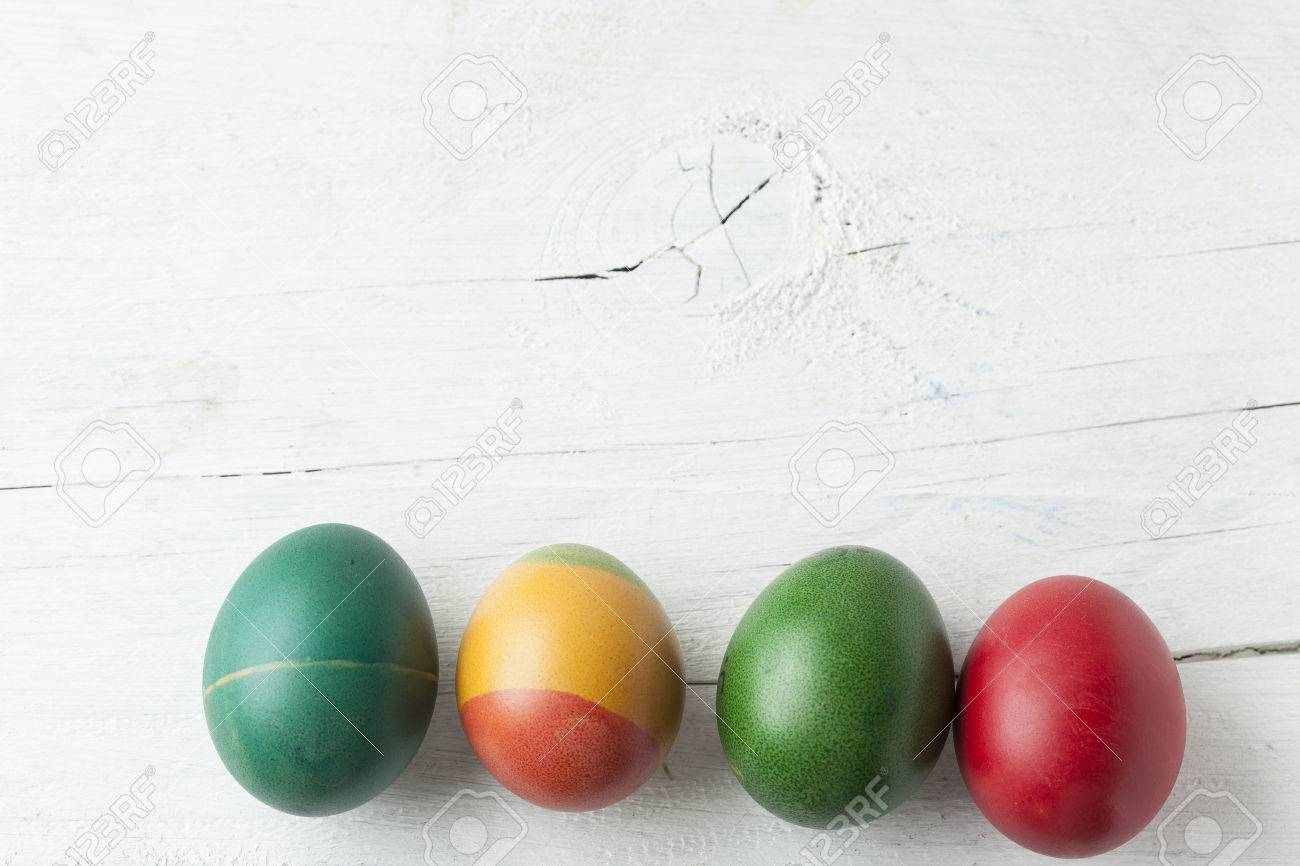 Easter Eggs And White Wooden Country Table Background Texture Copyspace Stock Photo