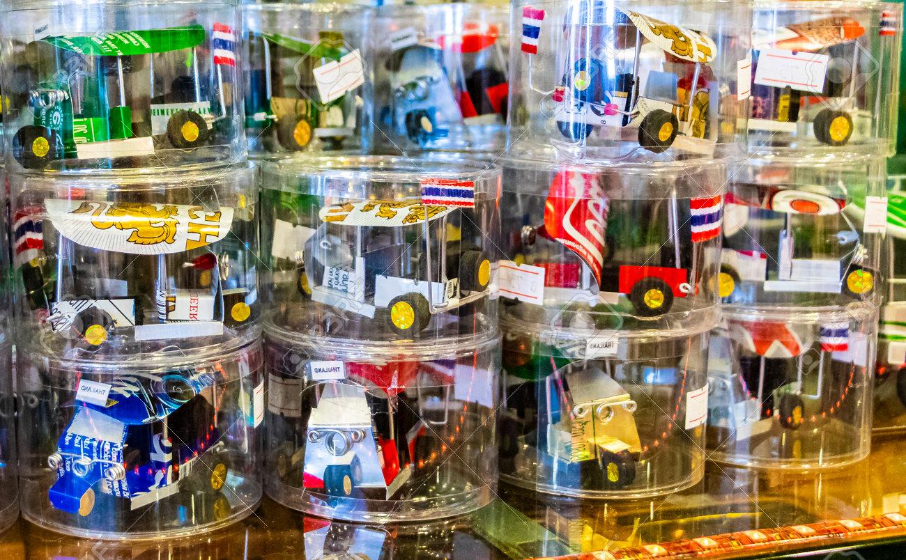 Bangkok Thailand May 22, 2018 Handmade Tuk Tuk souvenirs in souvenir shop in Bangkok Thailand. - 168880881