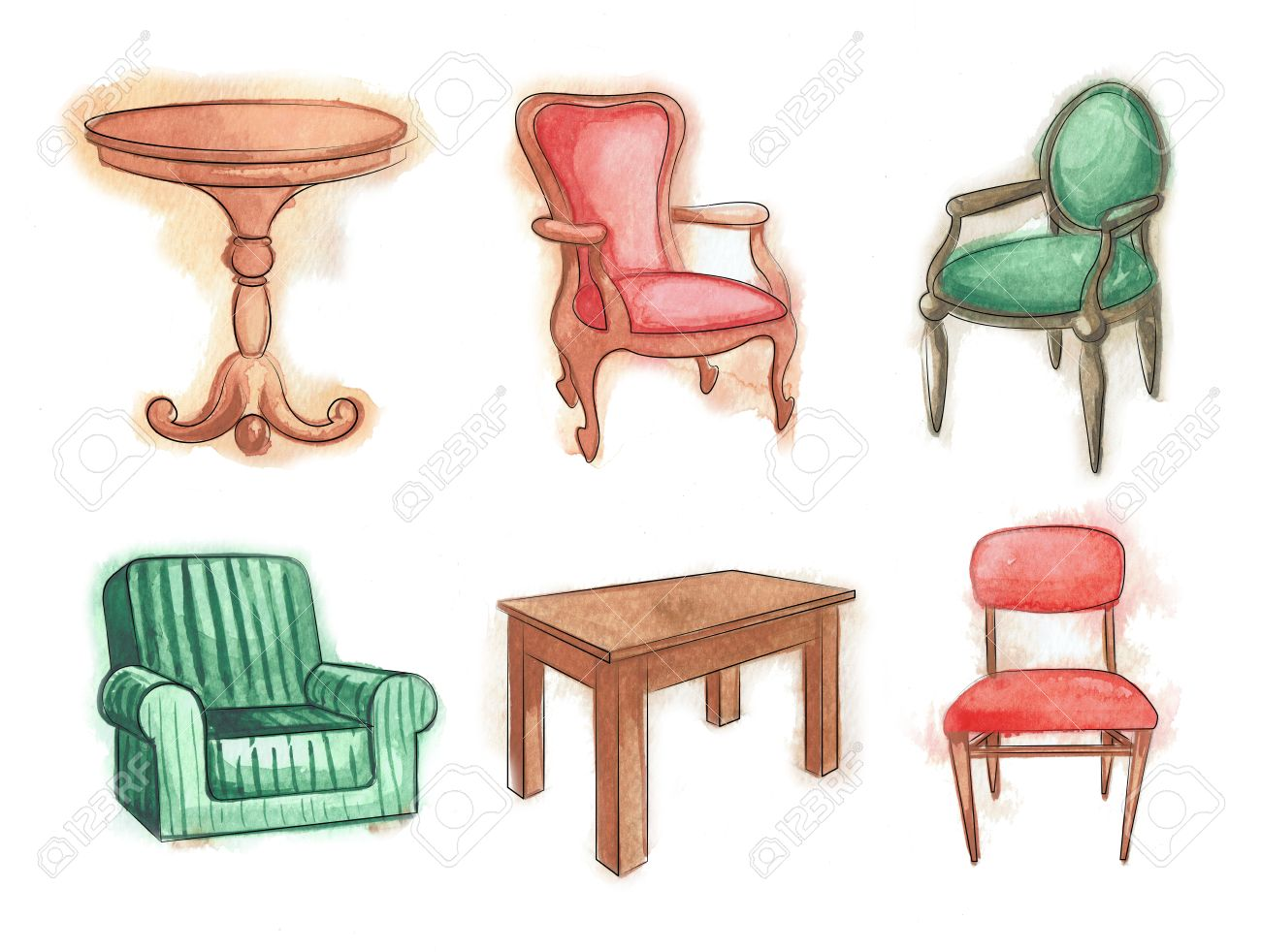 Tables and chairs cartoon - Chairs And Tables Wooden Furniture Watercolor Sketch Set Isolated Stock Photo 59587248