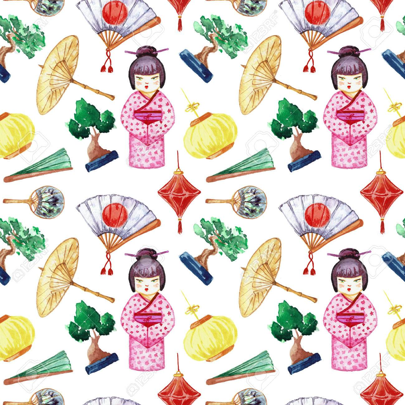 Japanese seamless pattern  Background with Japanese girl and