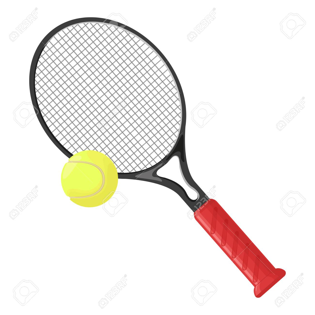 Tennis Racket And Tennis Ball Isolated On White Background Vector