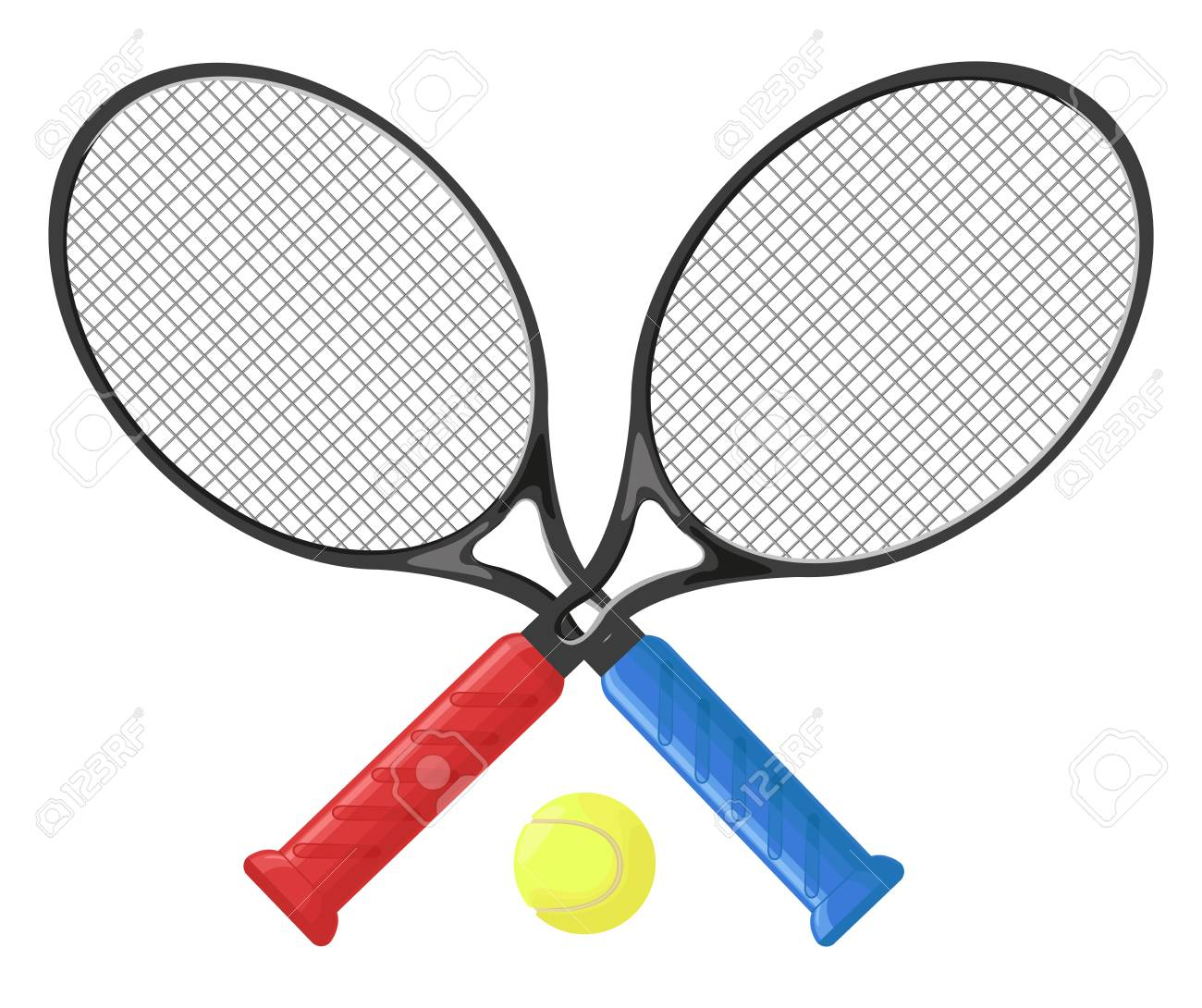 Two Tennis Rackets And Tennis Ball Isolated On White Background