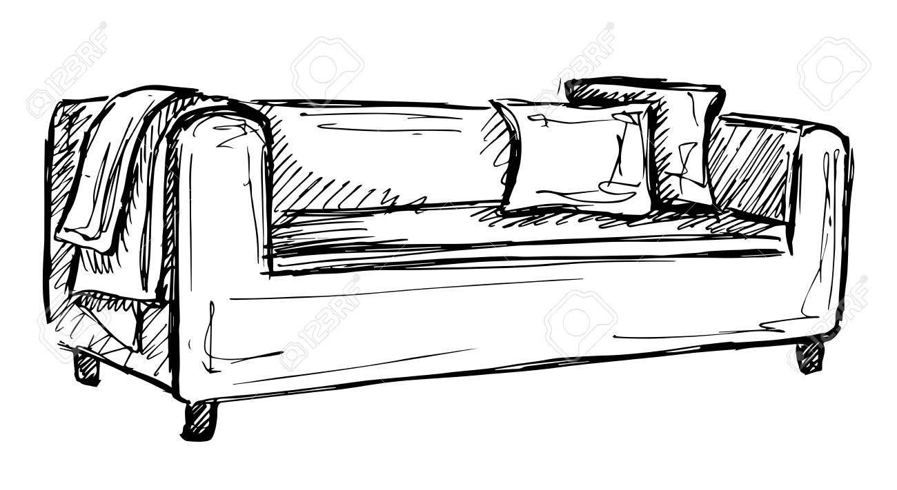 icône de dessin vectoriel canapé isolé sur fond clip art libres de