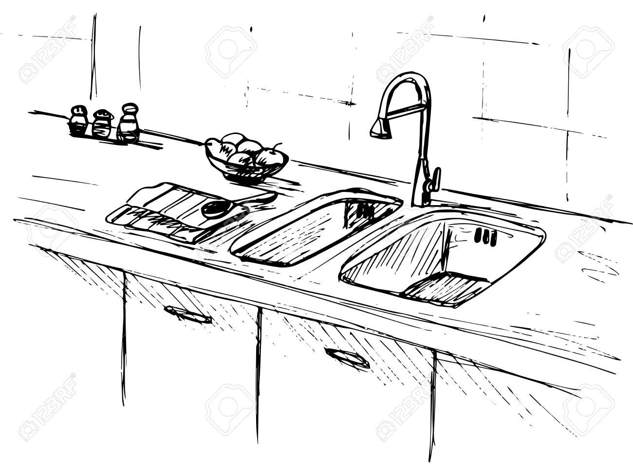 Kitchen Sink. Kitchen Worktop With Sink. The Sketch Of The Kitchen ...