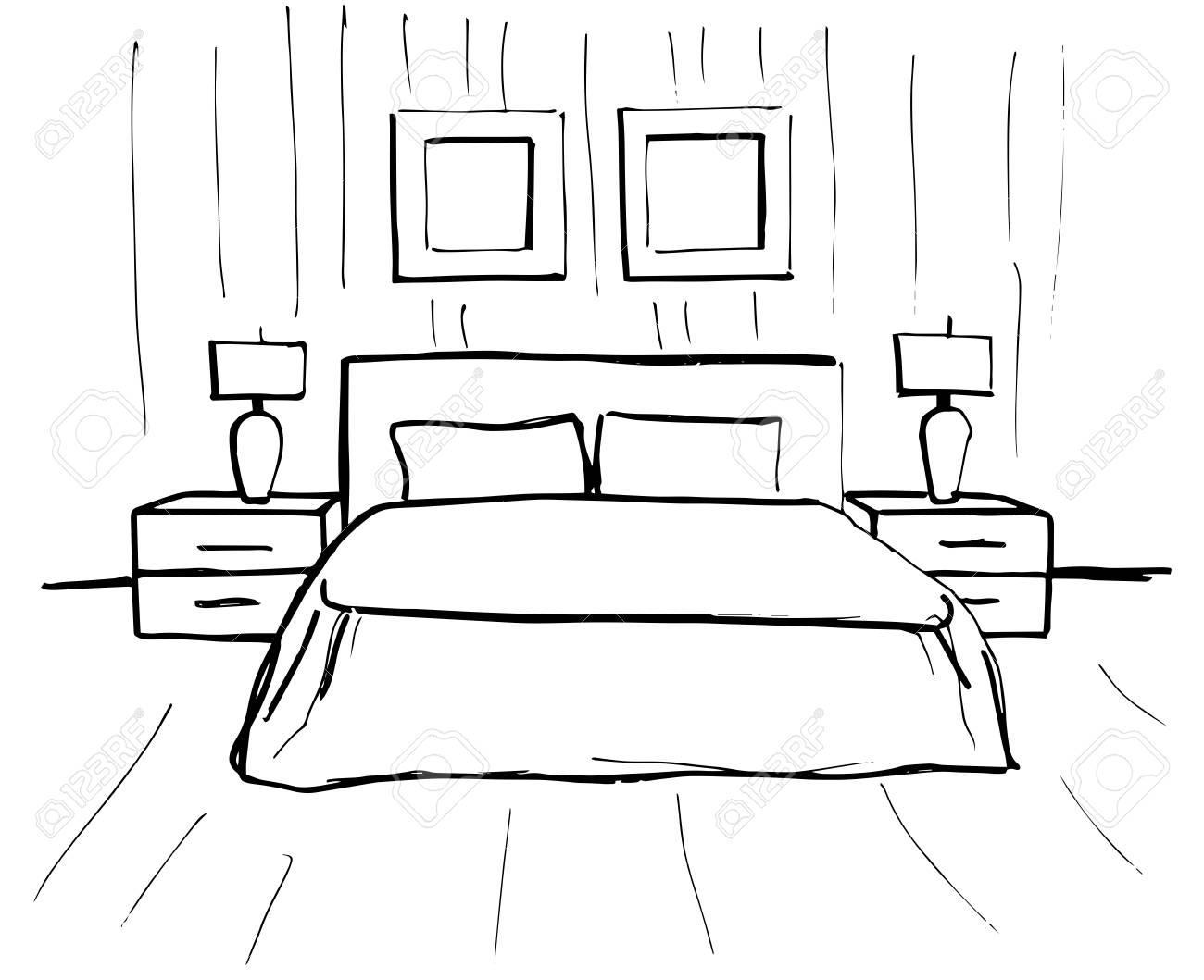 Boceto Dibujado A Mano Dibujo Lineal De Un Interior Dormitorios De Sketch Line Ilustración Vectorial Plan De Habitación