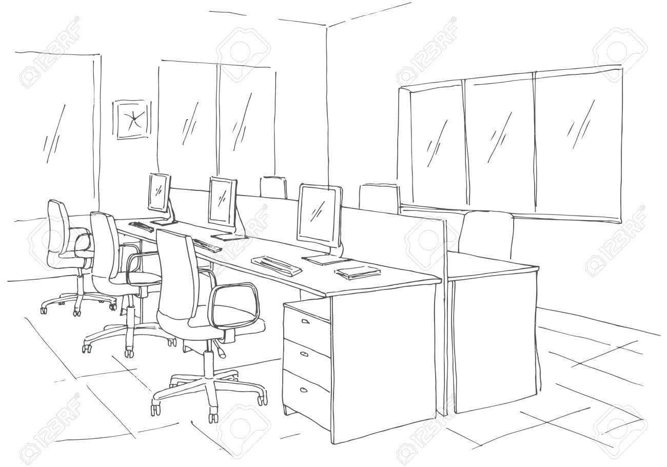 Un Trabajo VentanasIlustración Vector Aire Espacio Oficina Dibujo Al LibreMesasSillas Y De Estilo En AbiertoLugares 354LAjR