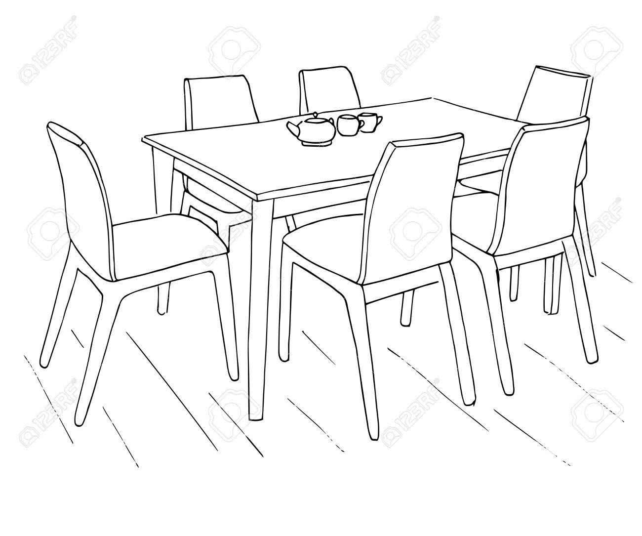 Tisch Und Stühle Auf Dem Tisch Sind Zwei Tassen Hand Gezeichnete