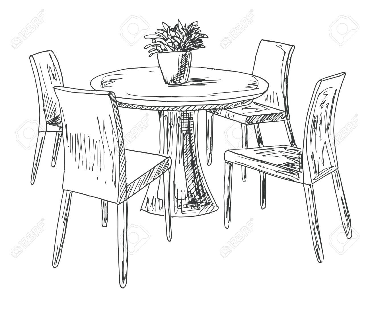 ManoIlustración De Redonda SillasEn Vector Y FloresBoceto Jarrón Dibujado A ComedorMesa Del Parte El VqzpGLUSM