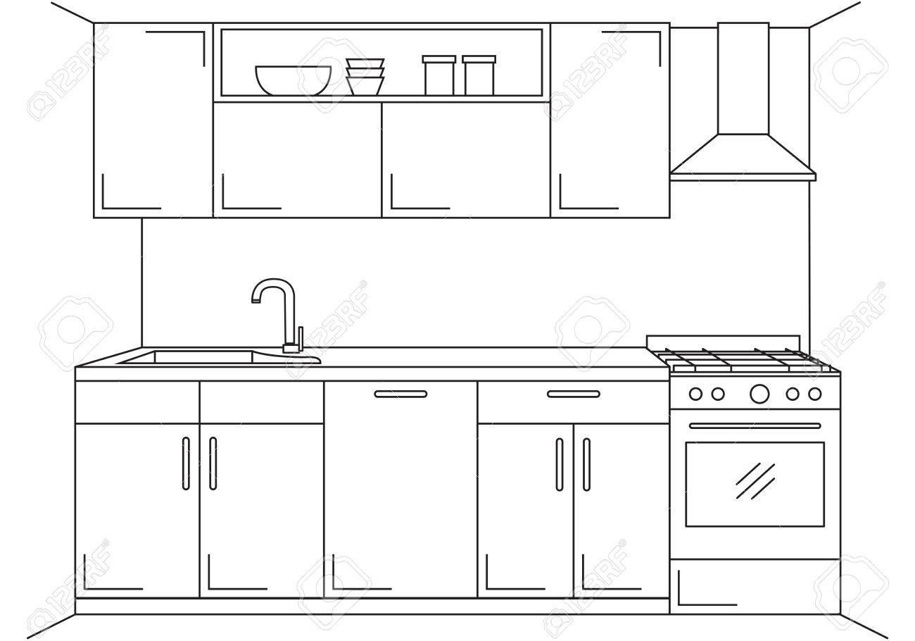 Cocina Moderna. Muebles De Cocina Con Fregadero, Vitrocerámica Y ...