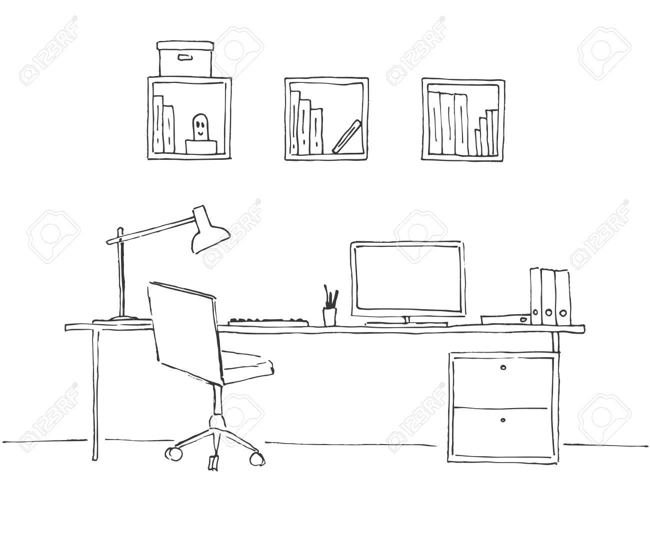 Dibuja La Habitación Silla De Oficina Escritorio Varios Objetos
