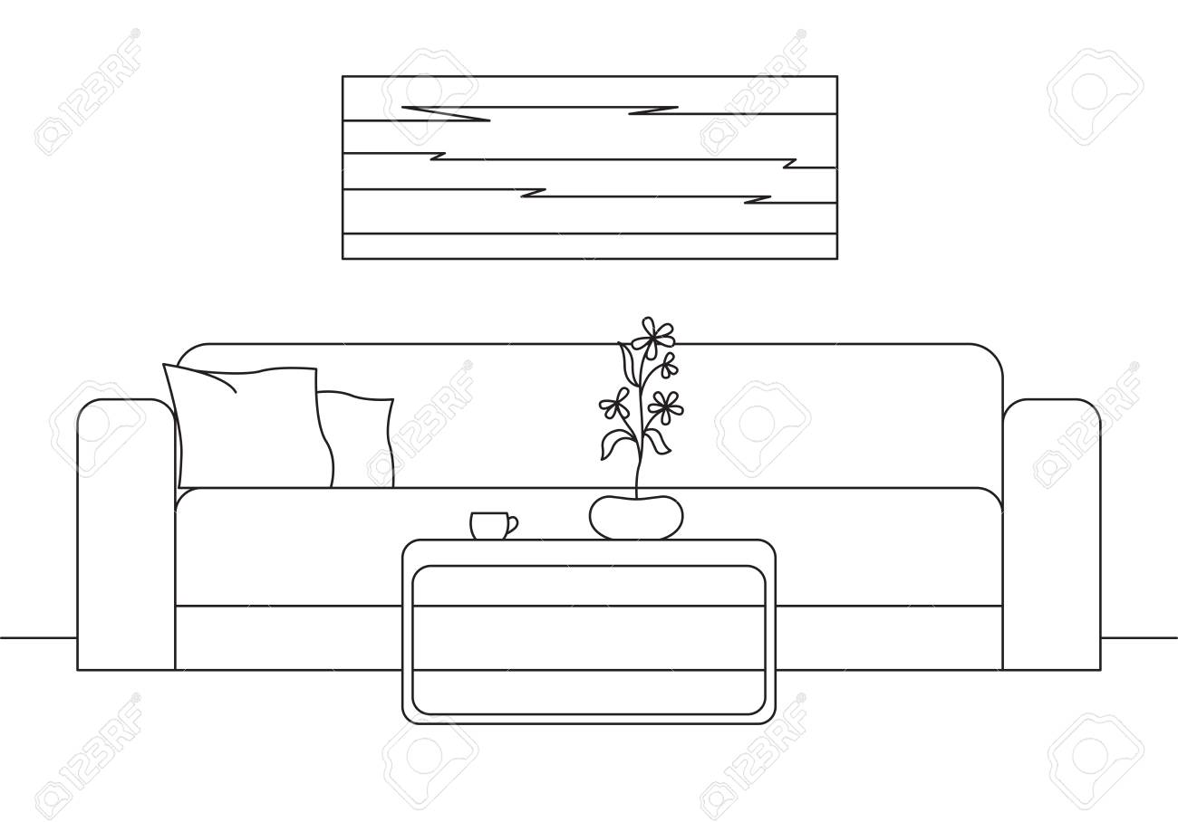 Sofa, Table In Front Of The Sofa. On The Table A
