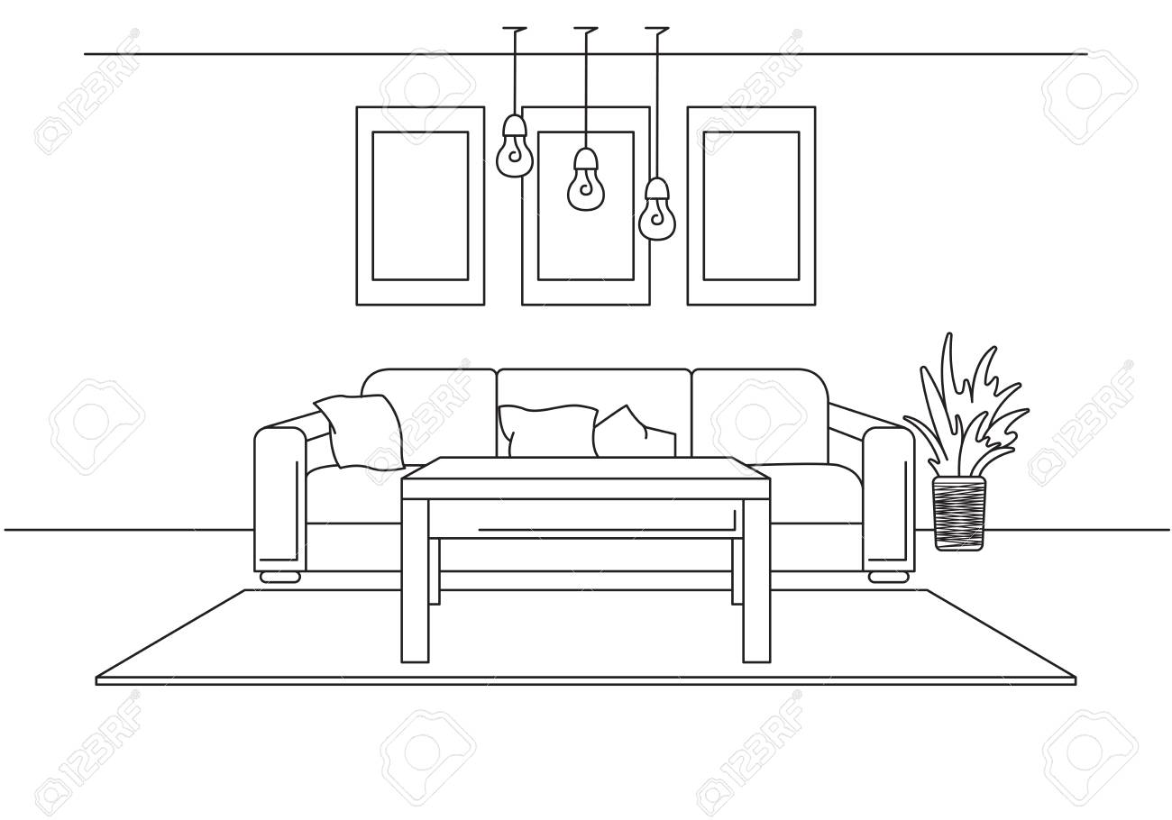 Sofa, Lamp And Bedside Table. The Clock Hangs On The Wall