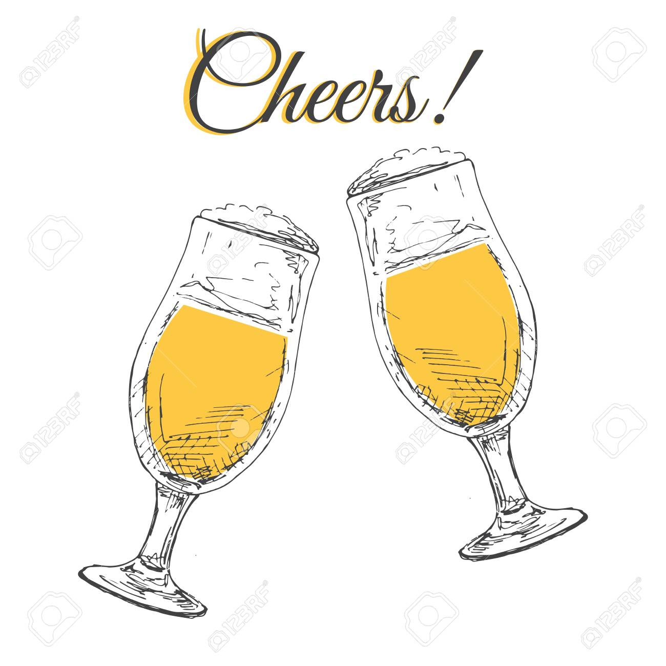 27bdde87031 Two glasses with beer on a white background. Inscription Cheers Vector  illustration in sketch style