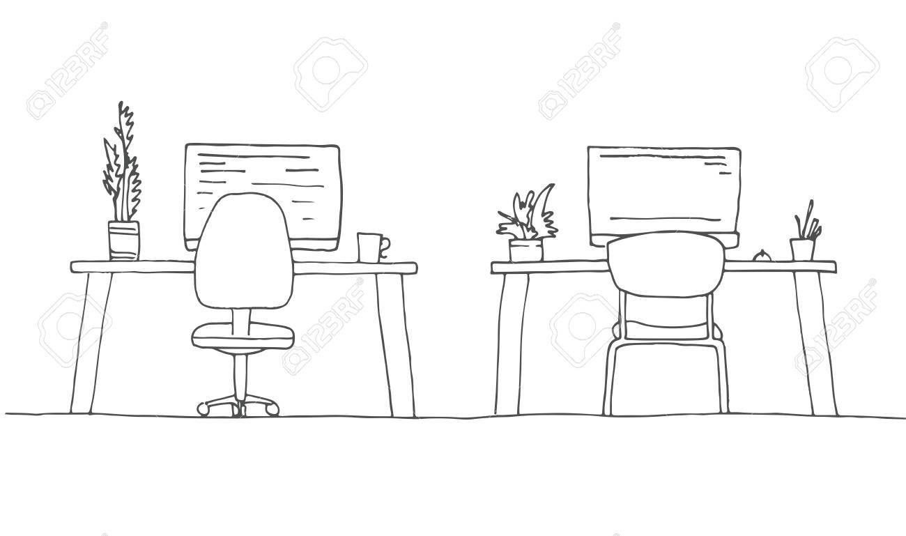 Objets Illustration D'espace Travail Esquissez Sur TableEsquisse Vectorielle De BureauDivers La PièceChaise f7y6bg