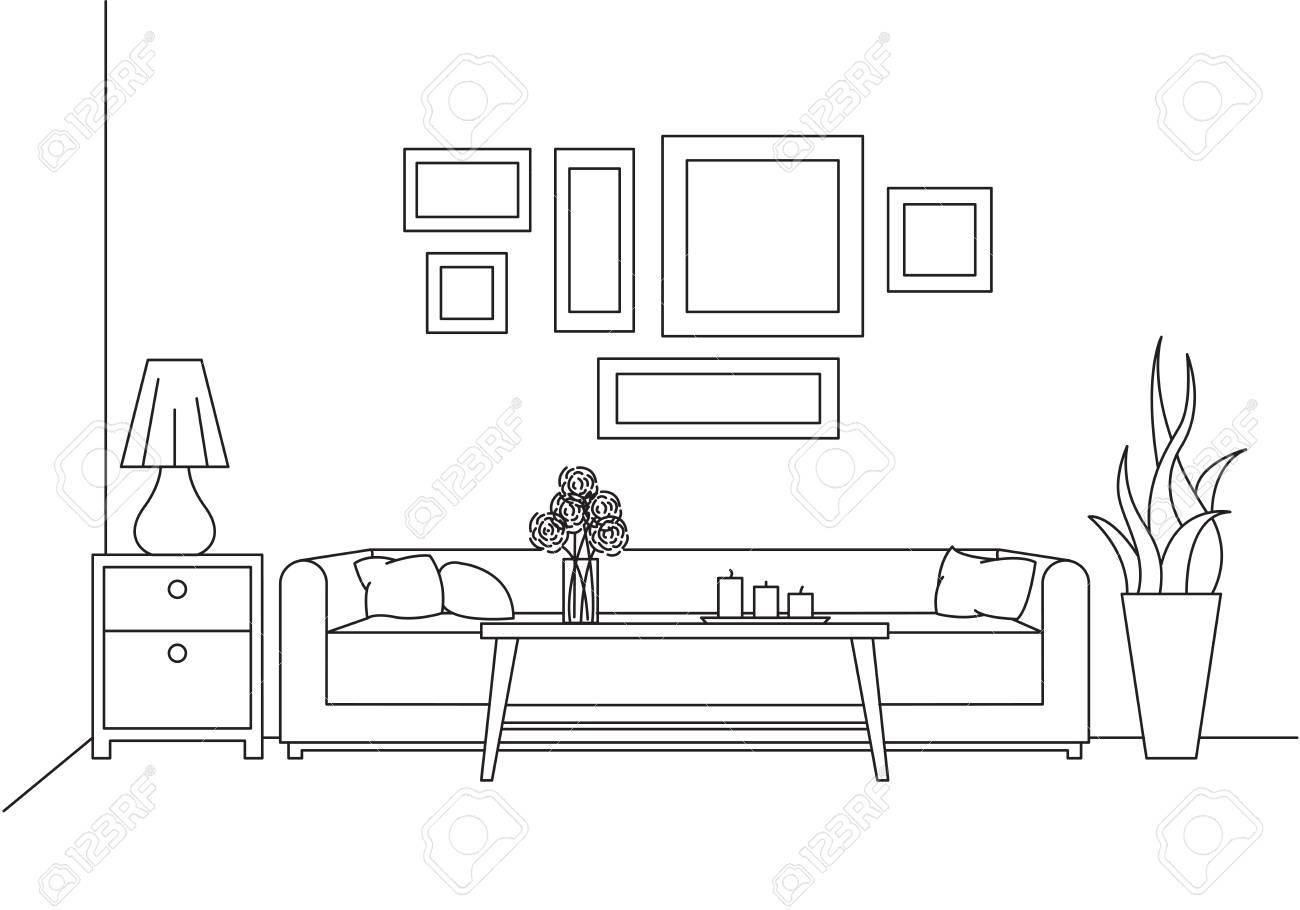 CanapéTableVase Un Dans BureauCroquis Des Avec Style De L'intérieur FleursTable ChevetLampe Moderne Linéaire P8n0wOk