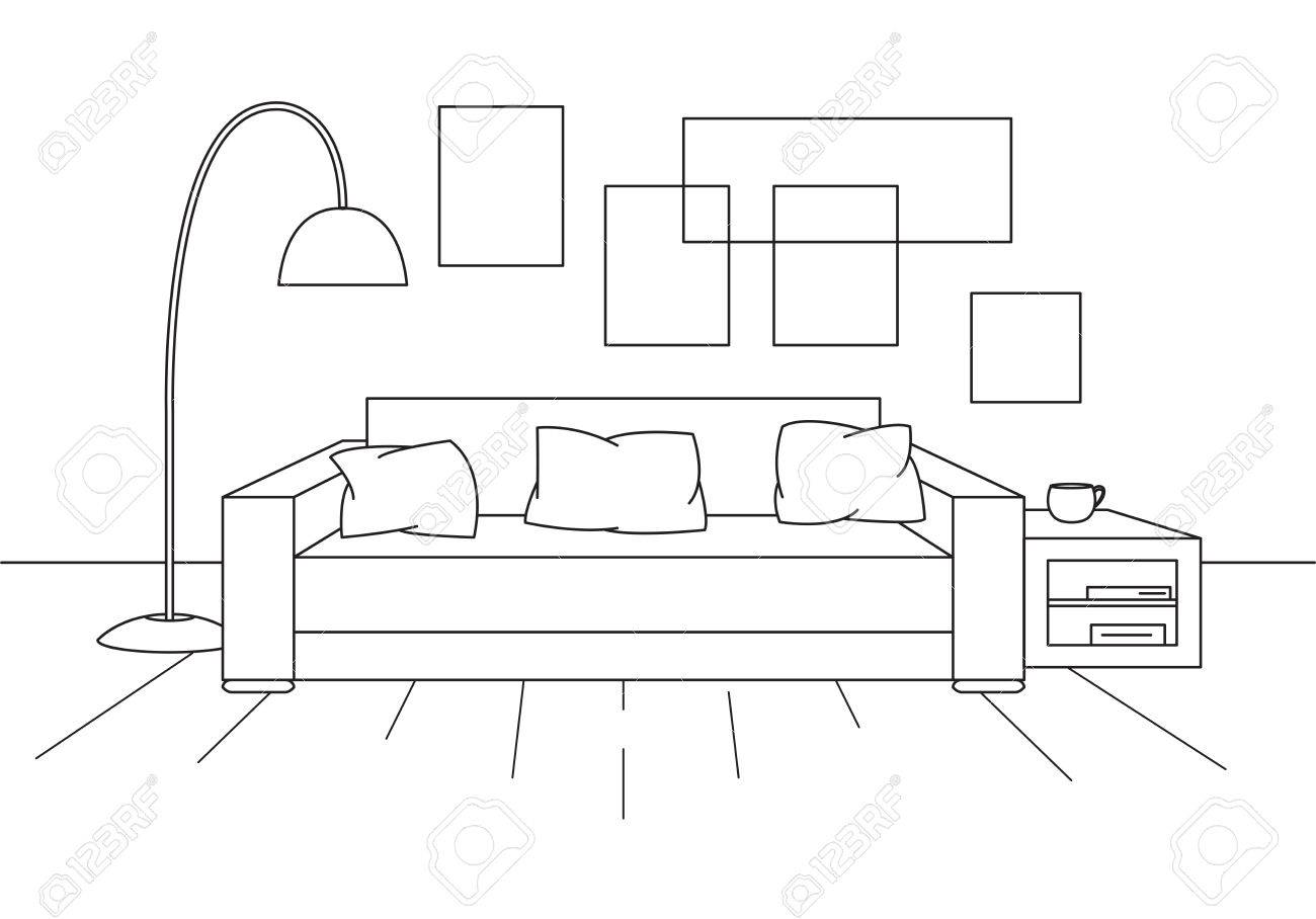 Sofa, Floor Lamp And Bedside Table. The Clock Hangs On The