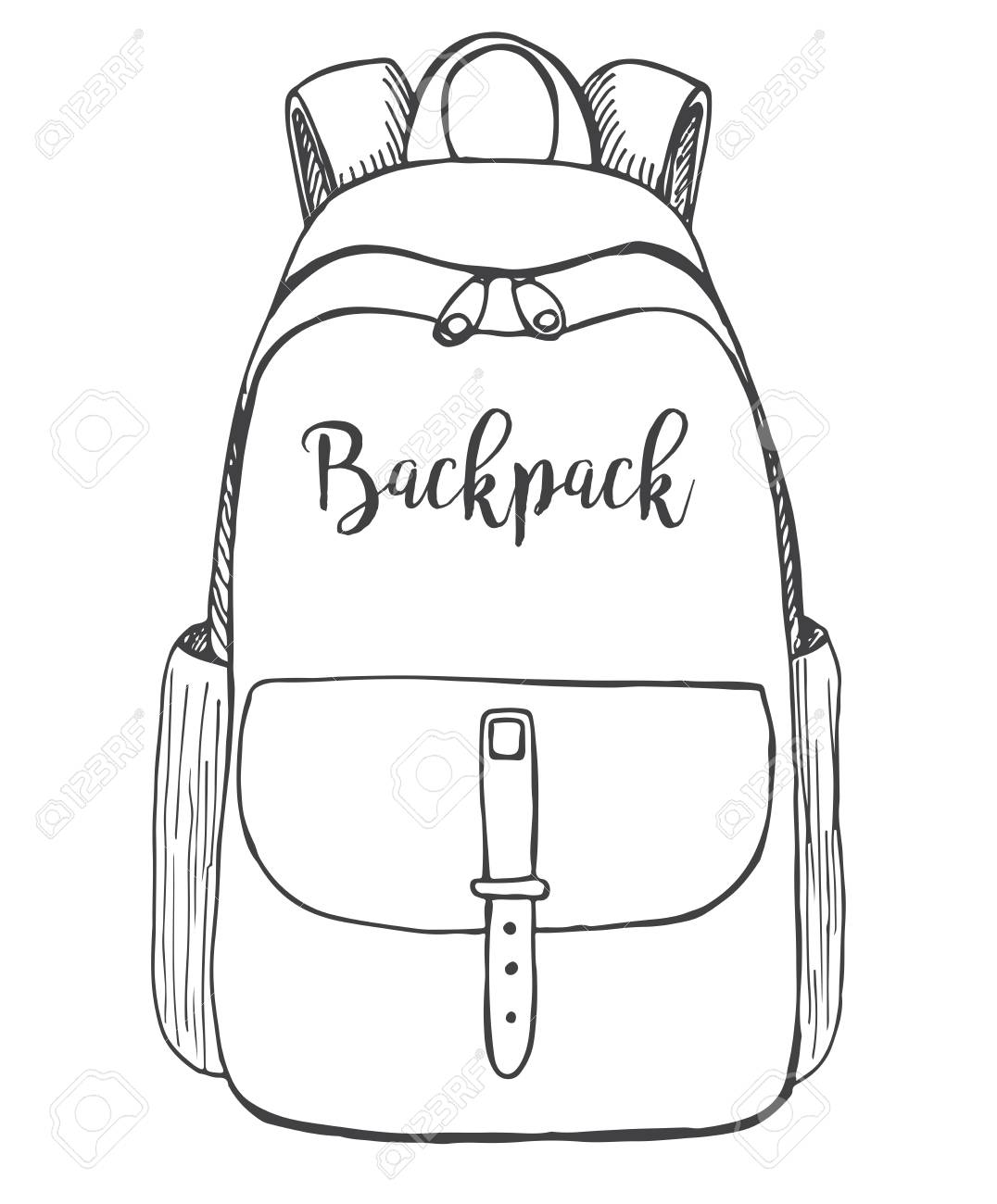 b1503bd57c7 Sketch of a rucksack. Backpack isolated on white background. Vector  illustration of a sketch