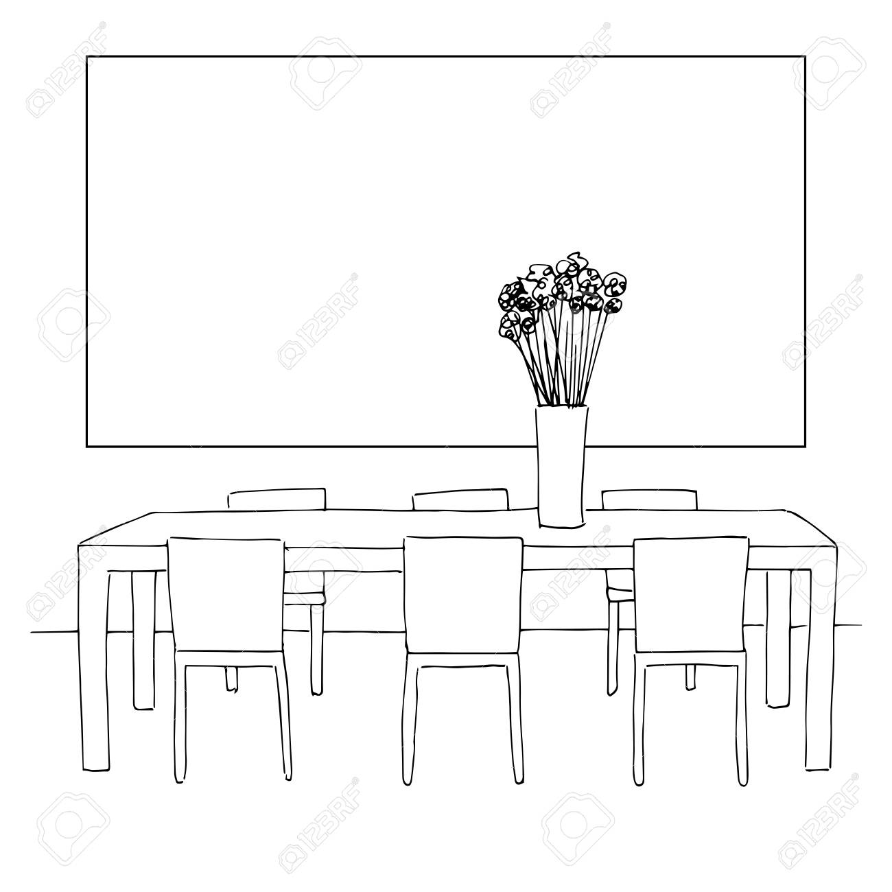 dining room table clipart black and white. Part Of The Dining Room  Table And Chairs On Table Vase Flowers Of The Dining Room And Chairs Vase