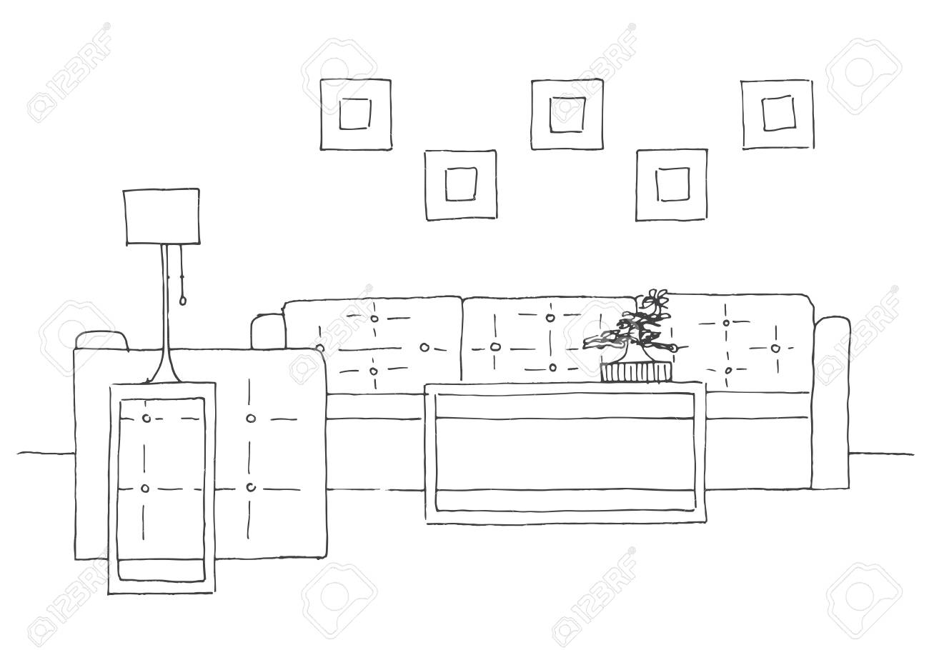 Sofa Chair Lamp And Table With Potted Plant Hand Drawn Vector