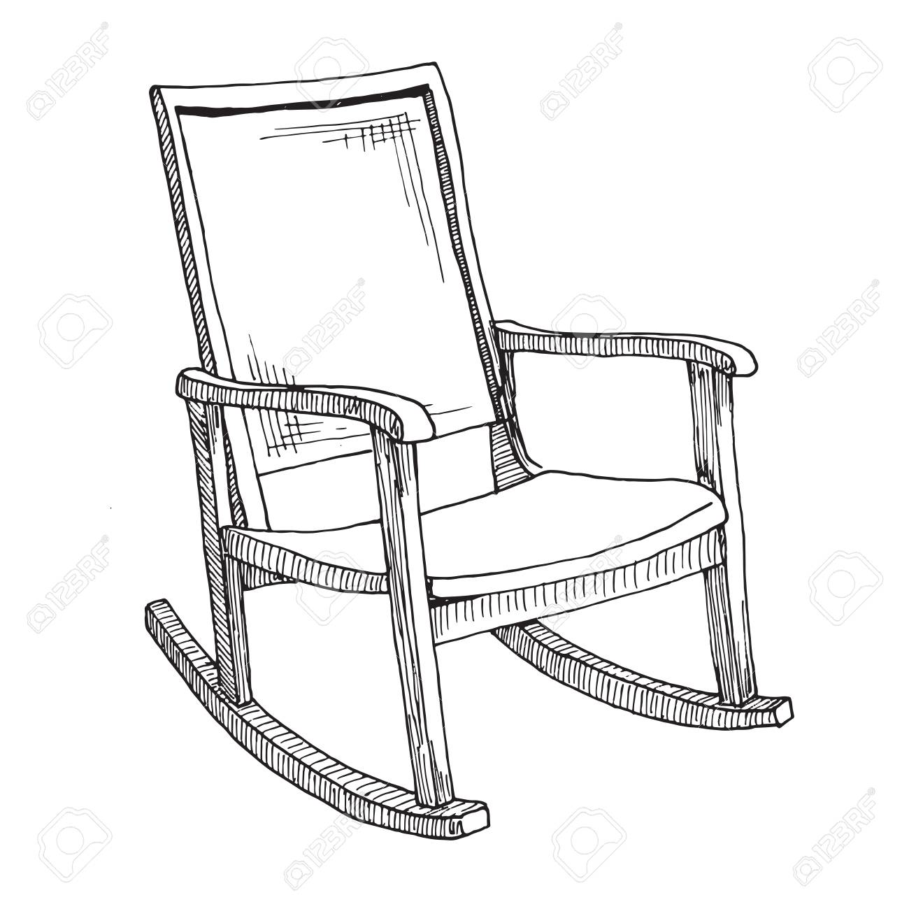 Awe Inspiring Comfortable Rocking Chair White Isolated Backgroundsketch On Pdpeps Interior Chair Design Pdpepsorg