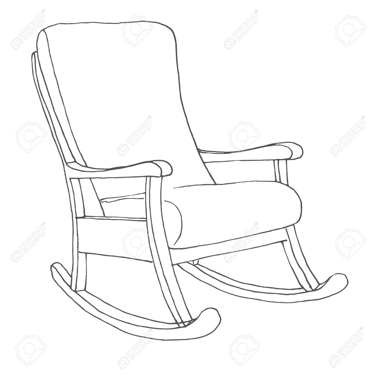 Phenomenal Rocking Chair Isolated On White Background Sketch A Comfortable Inzonedesignstudio Interior Chair Design Inzonedesignstudiocom