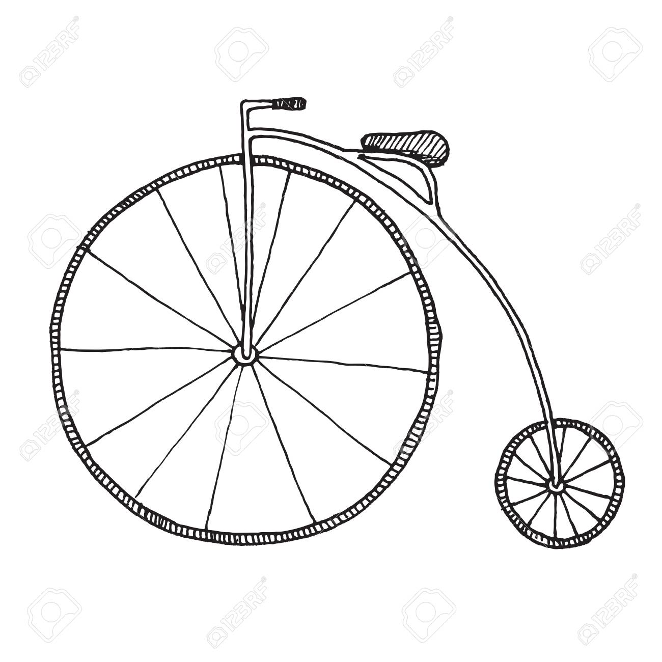 Sketch of penny farthing bicycle isolated on white background vector illustration stock vector