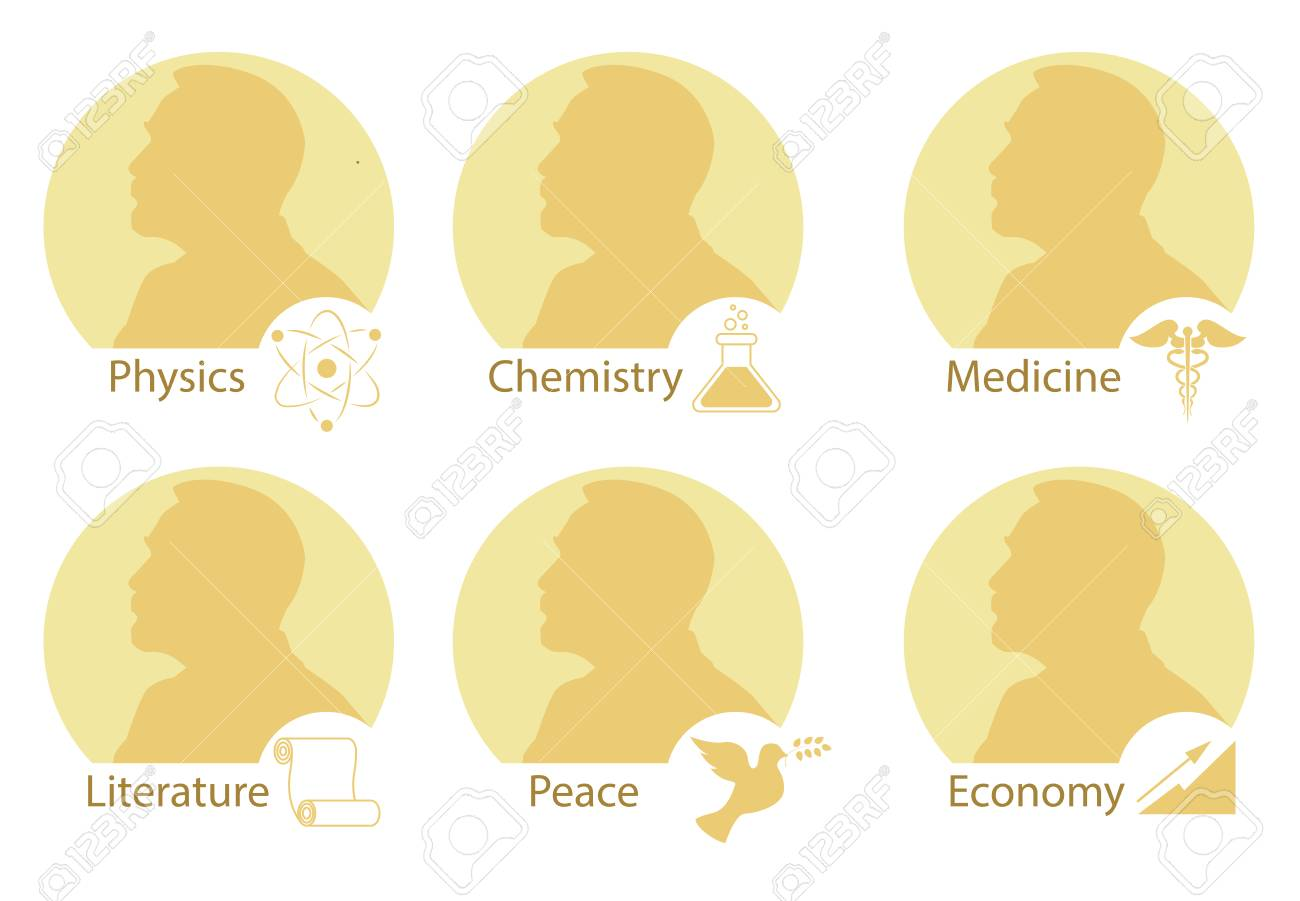 Set of stylized Nobel medals. Silhouette of Nobel in a flat style. Vector illustration. - 102870397