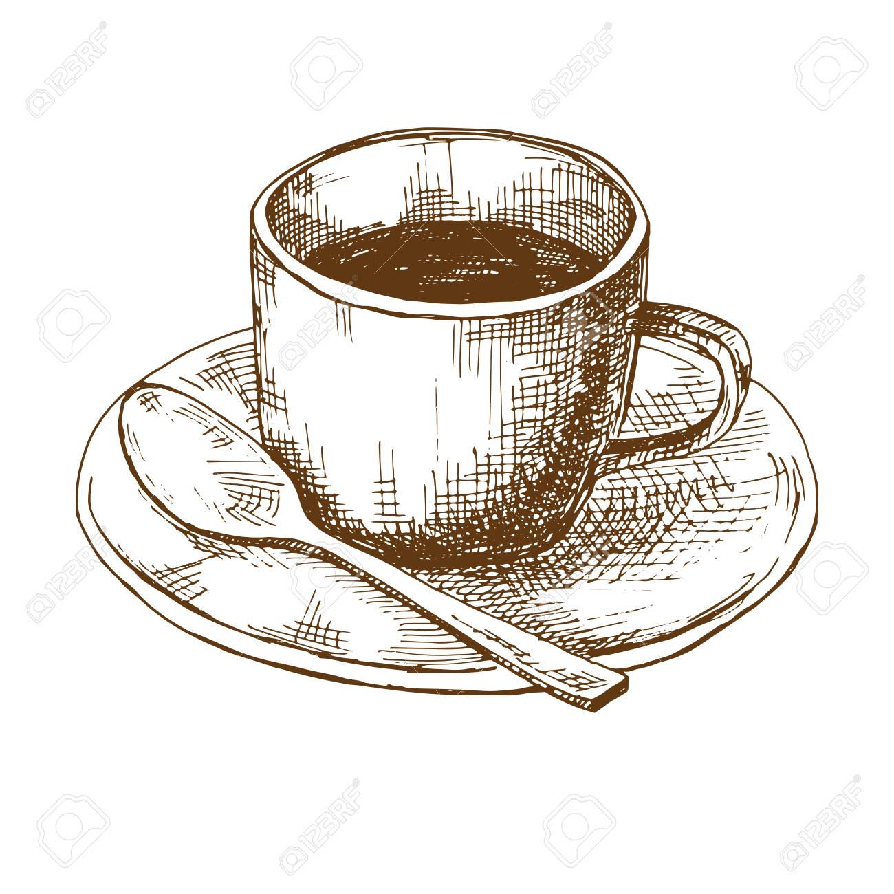 Sketch Of Coffee Mugs On A Saucer With A Spoon Vector Illustration Royalty Free Cliparts Vectors And Stock Illustration Image 111452699