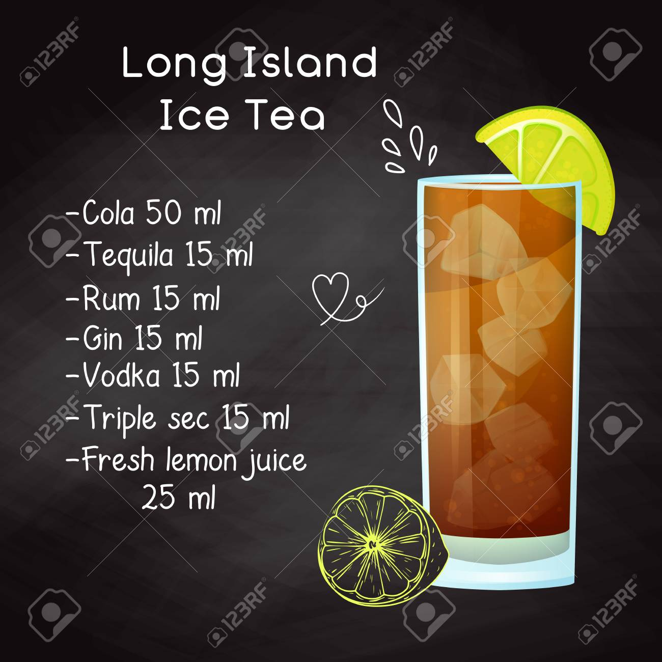 Simple Recipe For An Alcoholic Cocktail Long Island Ice Tea Royalty Free Cliparts Vectors And Stock Illustration Image 118503742